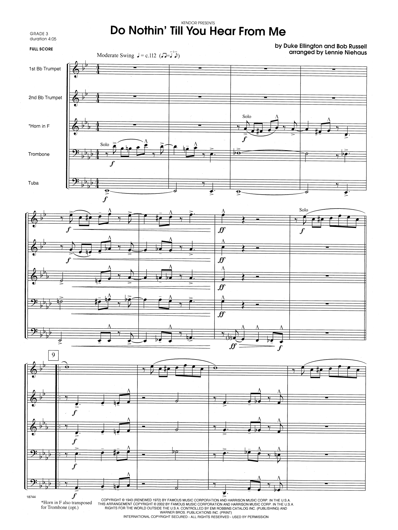 Do Nothin' Till You Hear from Me (COMPLETE) sheet music for brass quintet by Lennie Niehaus and Duke Ellington. Score Image Preview.