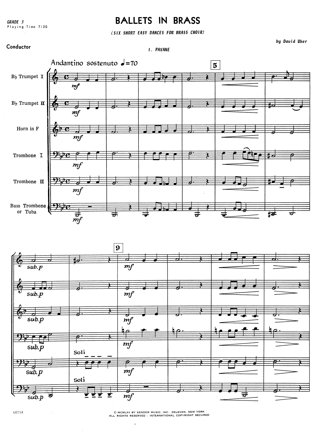 Ballets In Brass (Six Short Dances) (COMPLETE) sheet music for brass ensemble by David Uber. Score Image Preview.