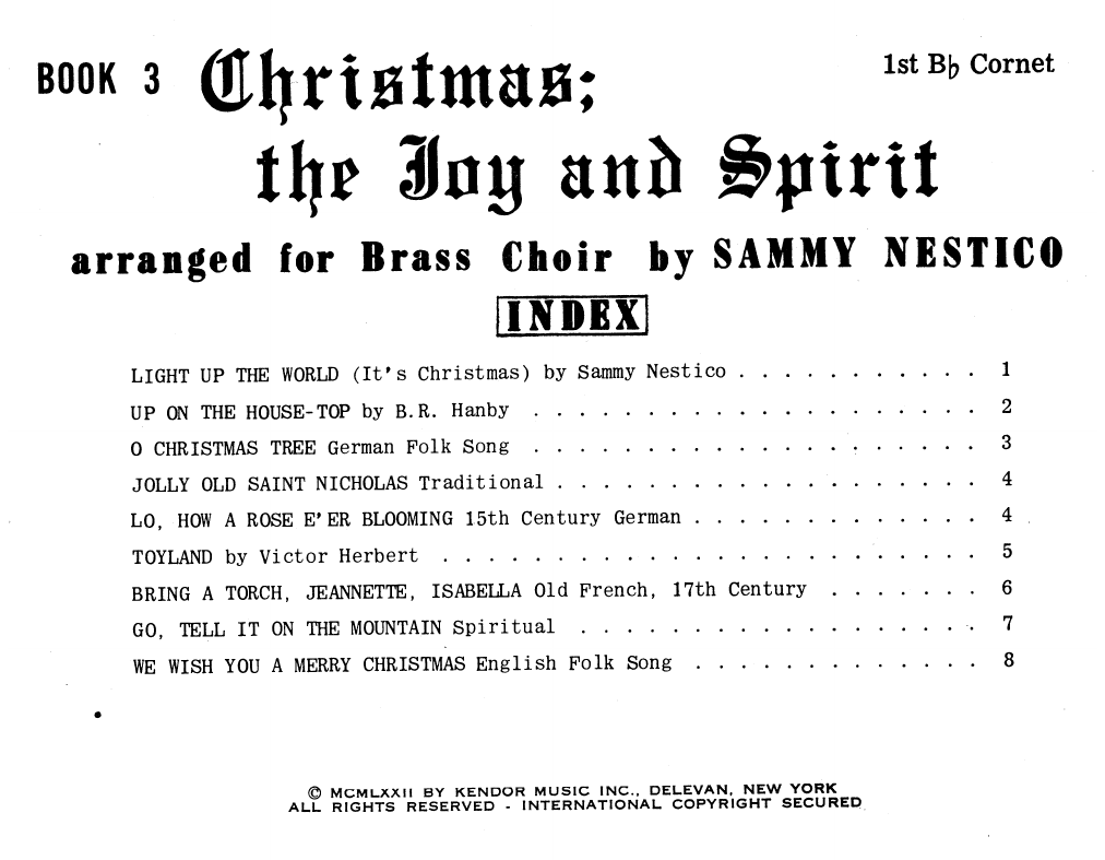 Christmas The Joy & Spirit - Book 3 - 1st Bb Cornet Sheet Music