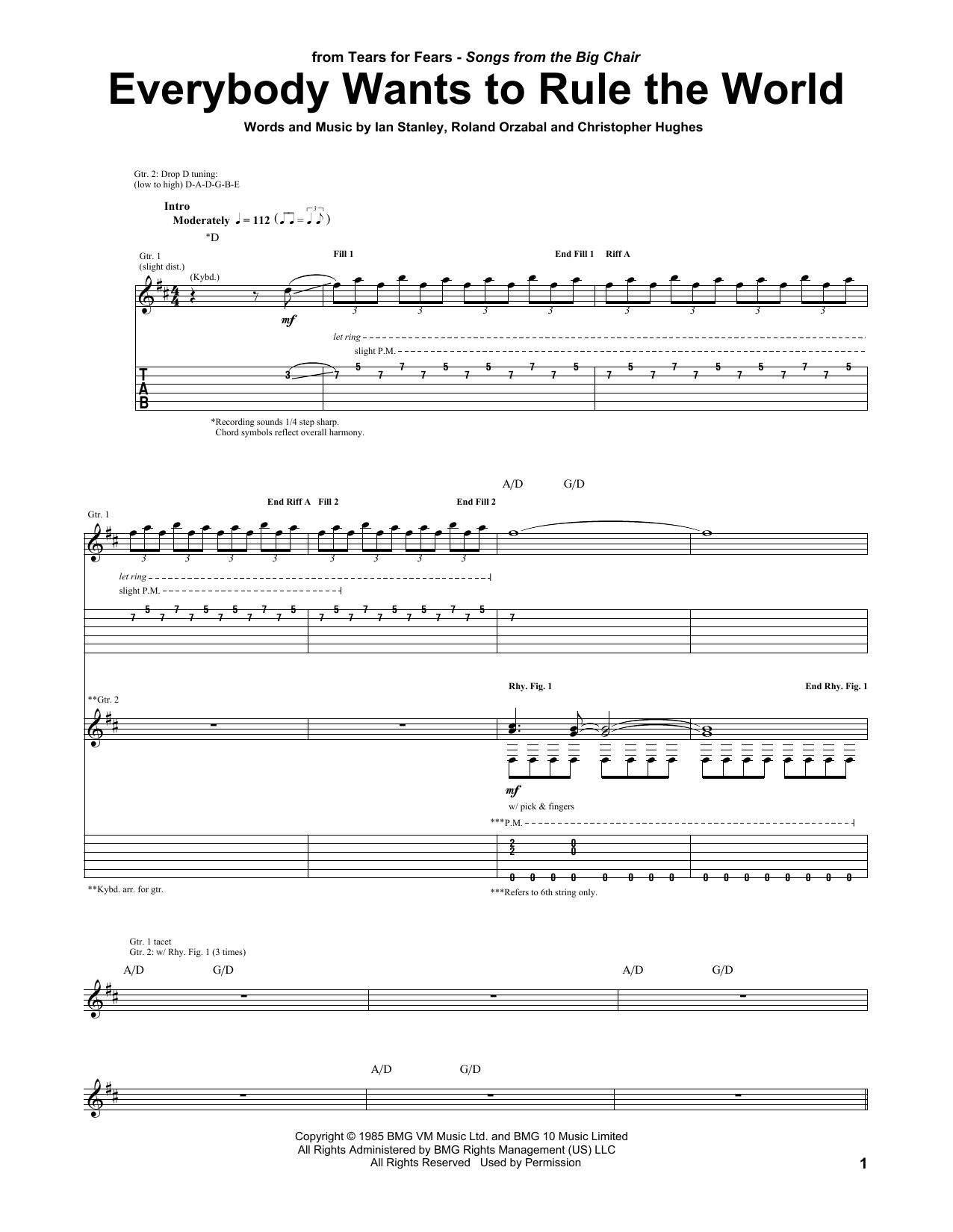 Tablature guitare Everybody Wants To Rule The World de Tears for Fears - Tablature Guitare