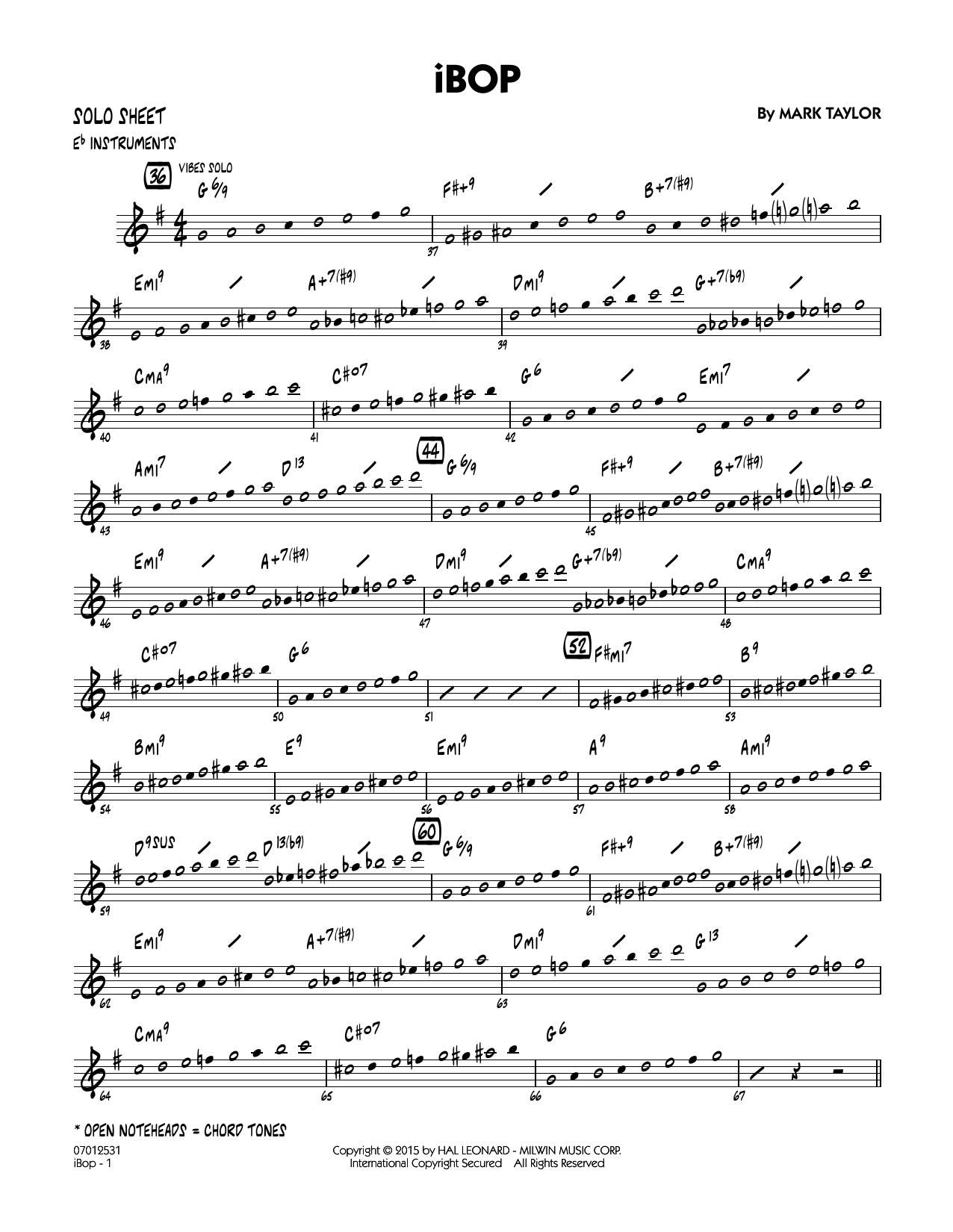 iBop - Eb Solo Sheet (Jazz Ensemble)