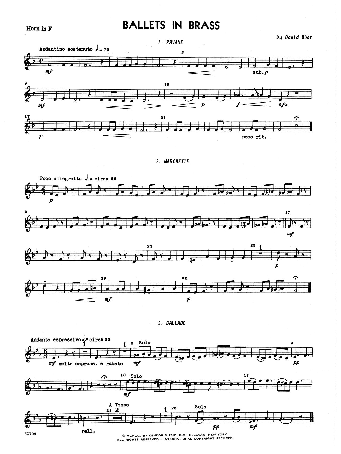 Ballets In Brass (Six Short Dances) - Horn in F Sheet Music