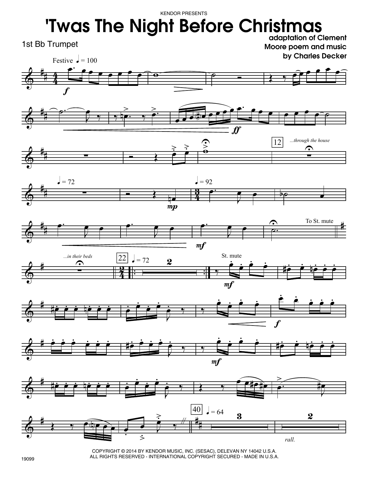 Twas The Night Before Christmas - 1st Bb Trumpet Sheet Music