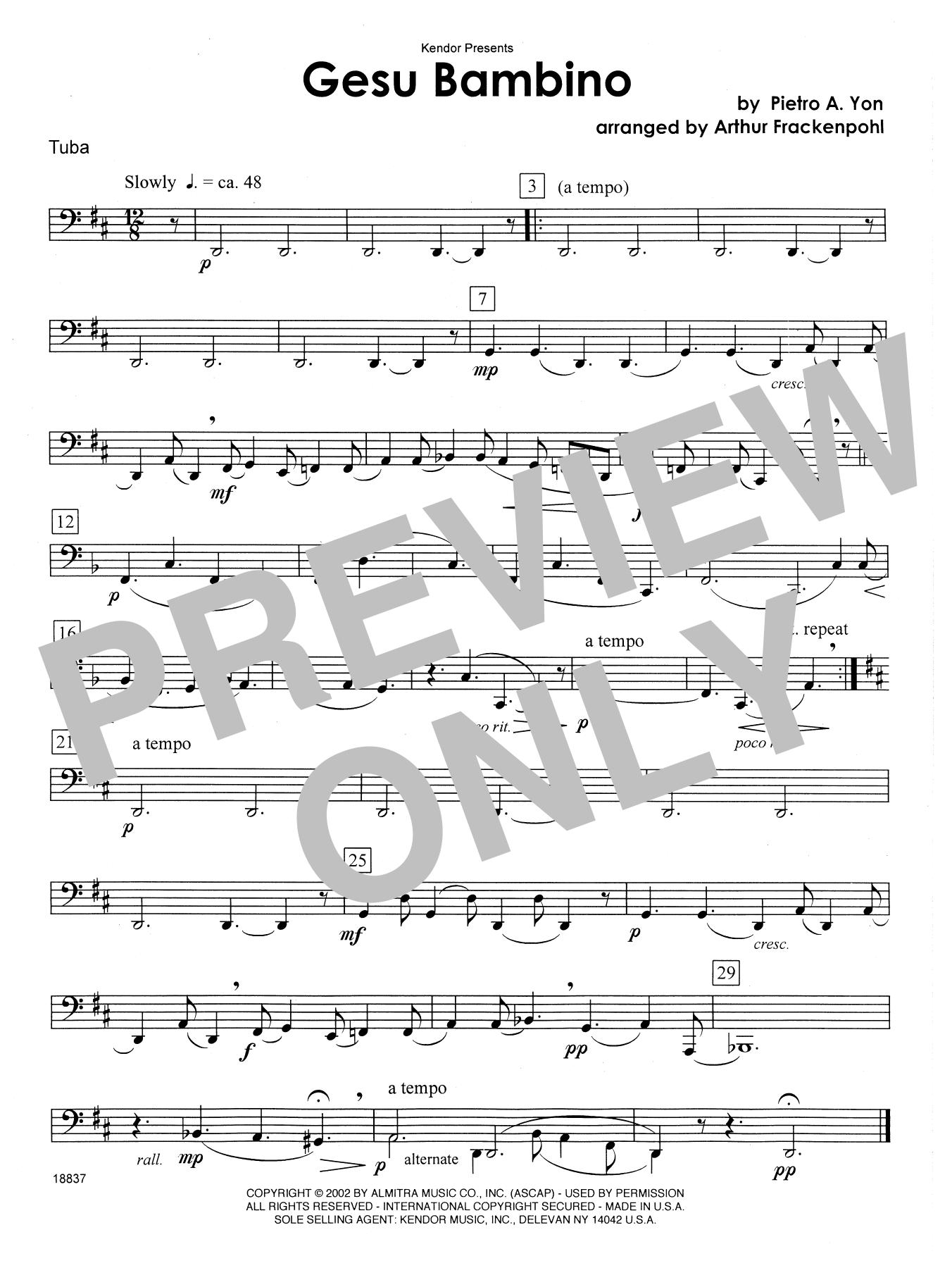 Gesu Bambino - Tuba Sheet Music