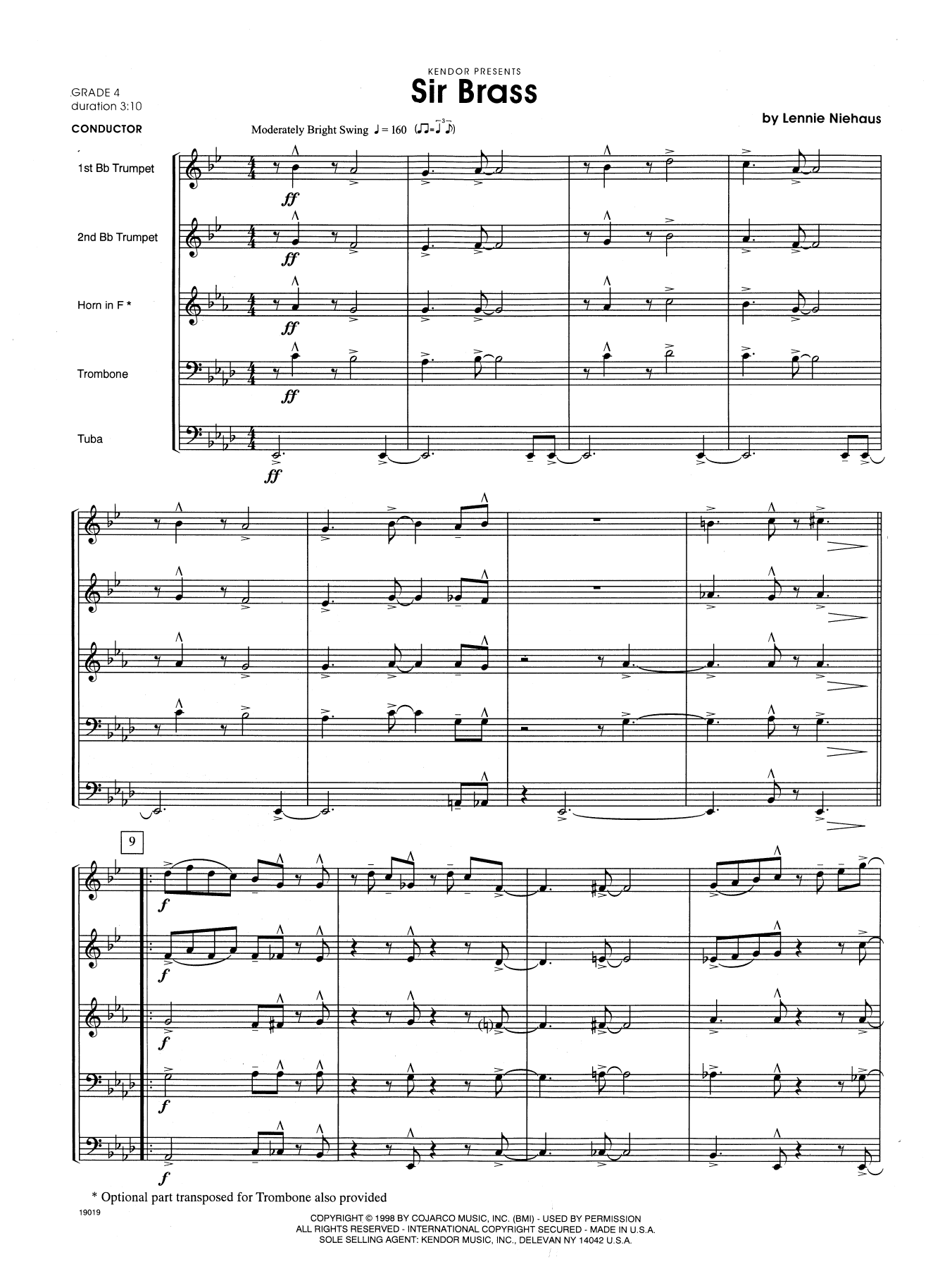 Sir Brass (COMPLETE) sheet music for brass quintet by Lennie Niehaus. Score Image Preview.