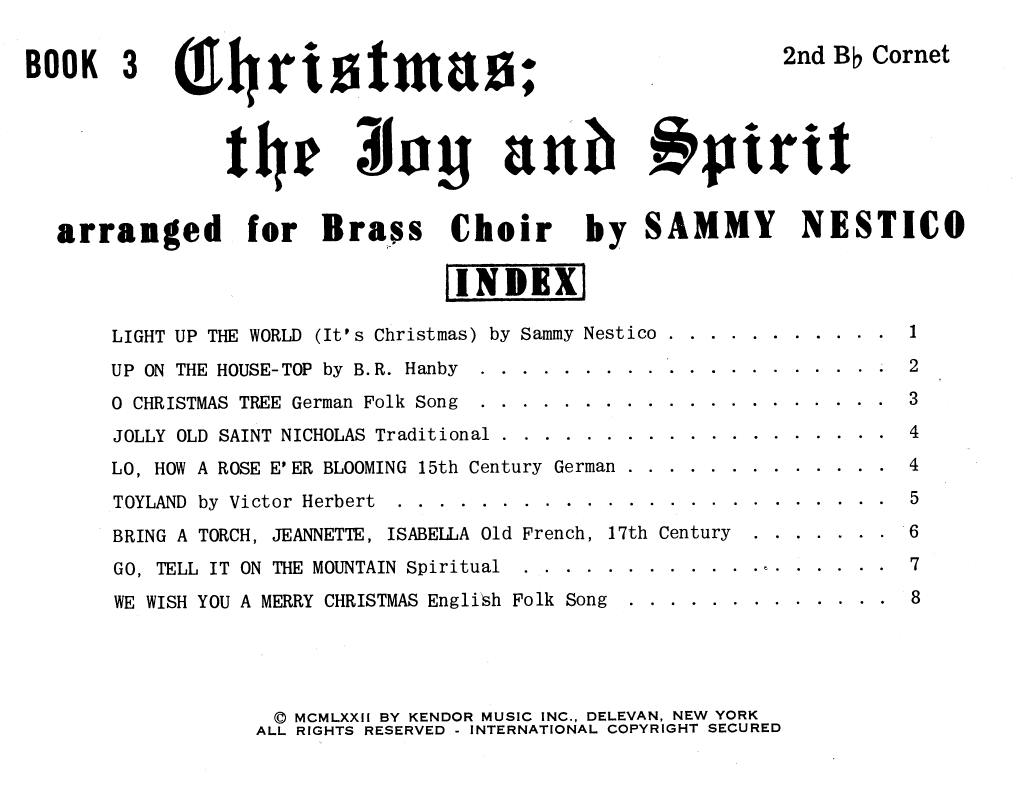 Christmas; The Joy & Spirit - Book 3/2nd Cornet Sheet Music