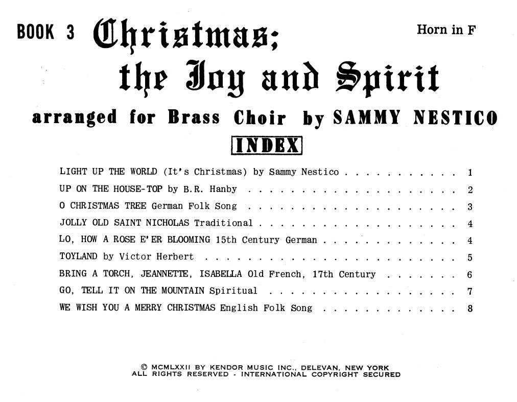 Christmas; The Joy & Spirit - Book 3/Horn in F Sheet Music