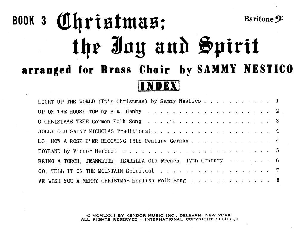 Christmas; The Joy & Spirit - Book 3/Baritone BC Sheet Music