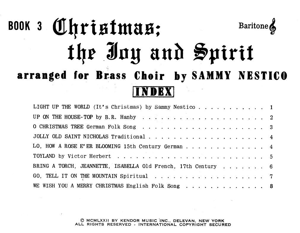 Christmas; The Joy & Spirit - Book 3/Baritone TC Sheet Music