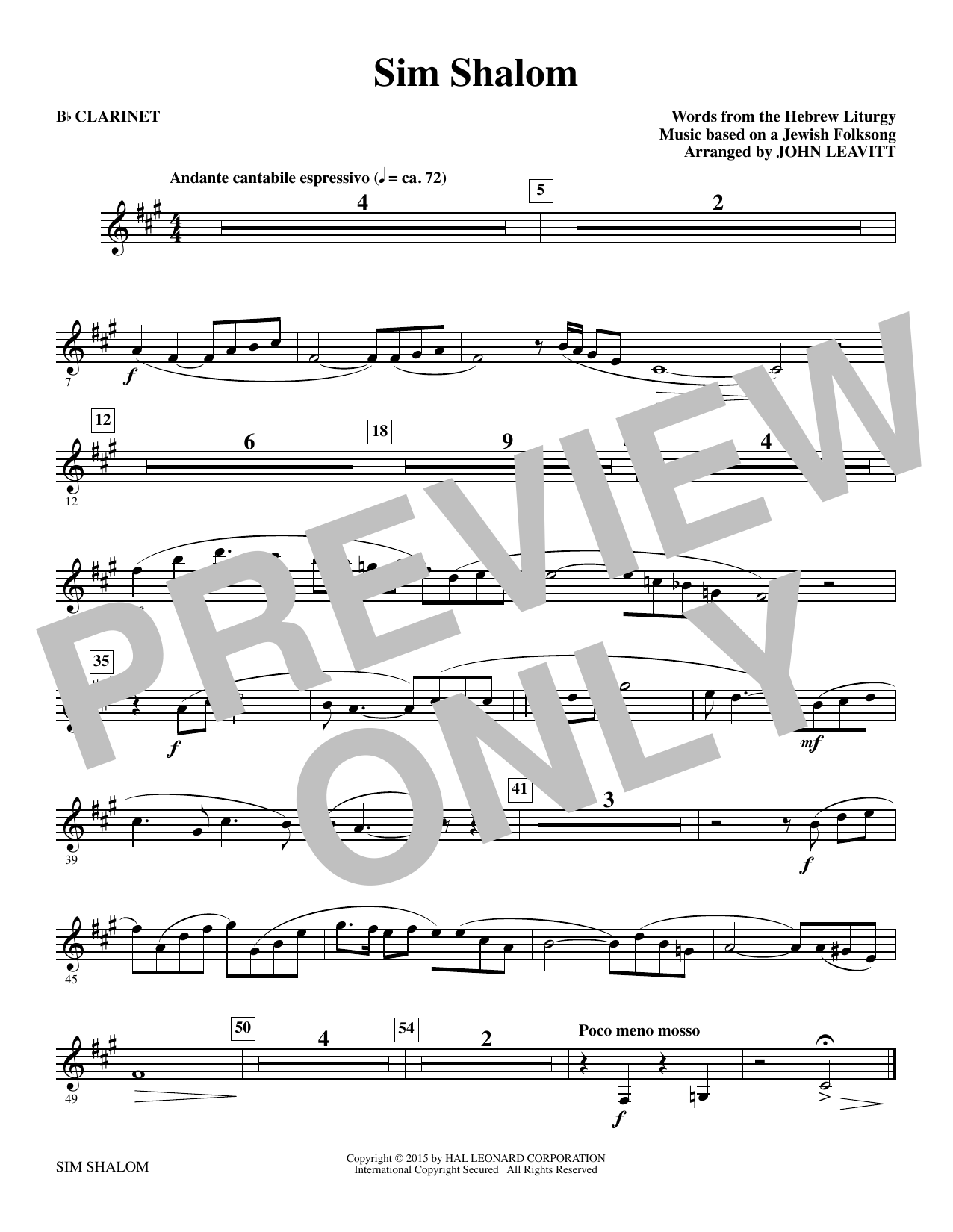 Sim Shalom - Bb Clarinet Sheet Music