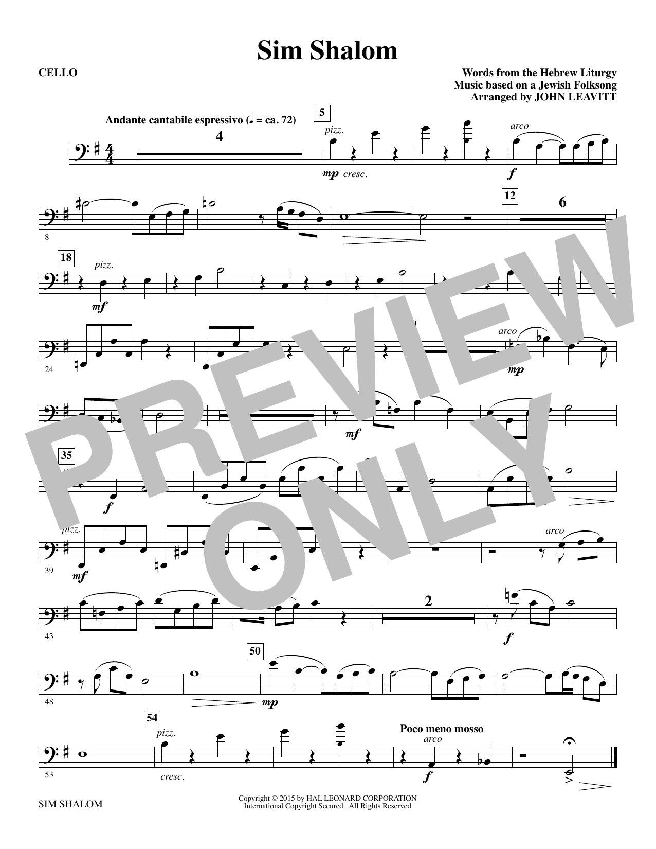Sim Shalom - Cello Sheet Music