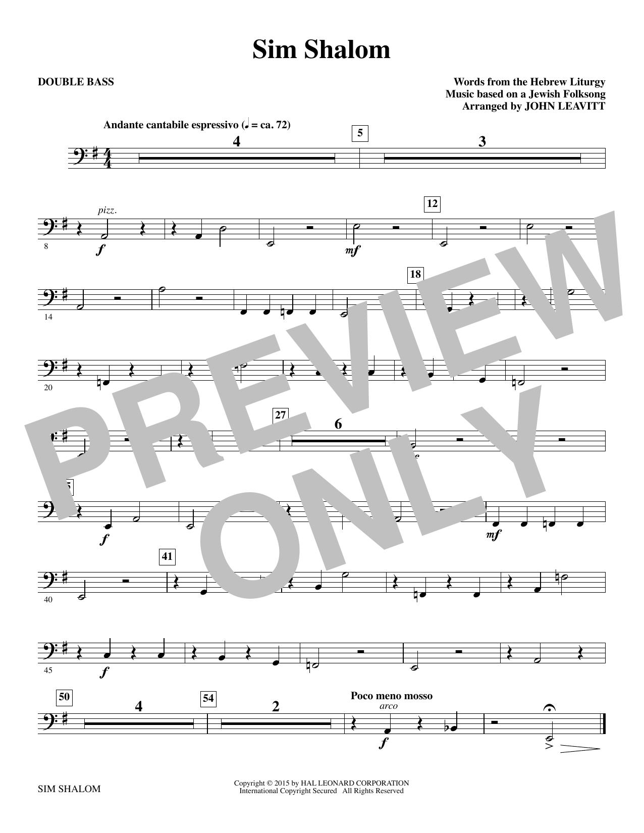 Sim Shalom - Double Bass Sheet Music