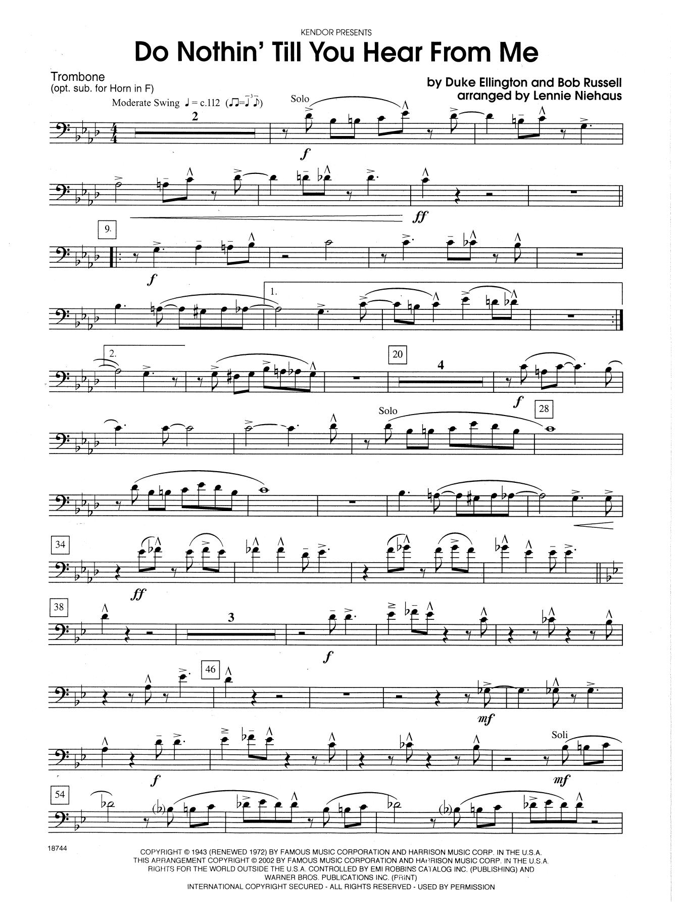 Do Nothin' Till You Hear from Me - Optional Trombone Sheet Music