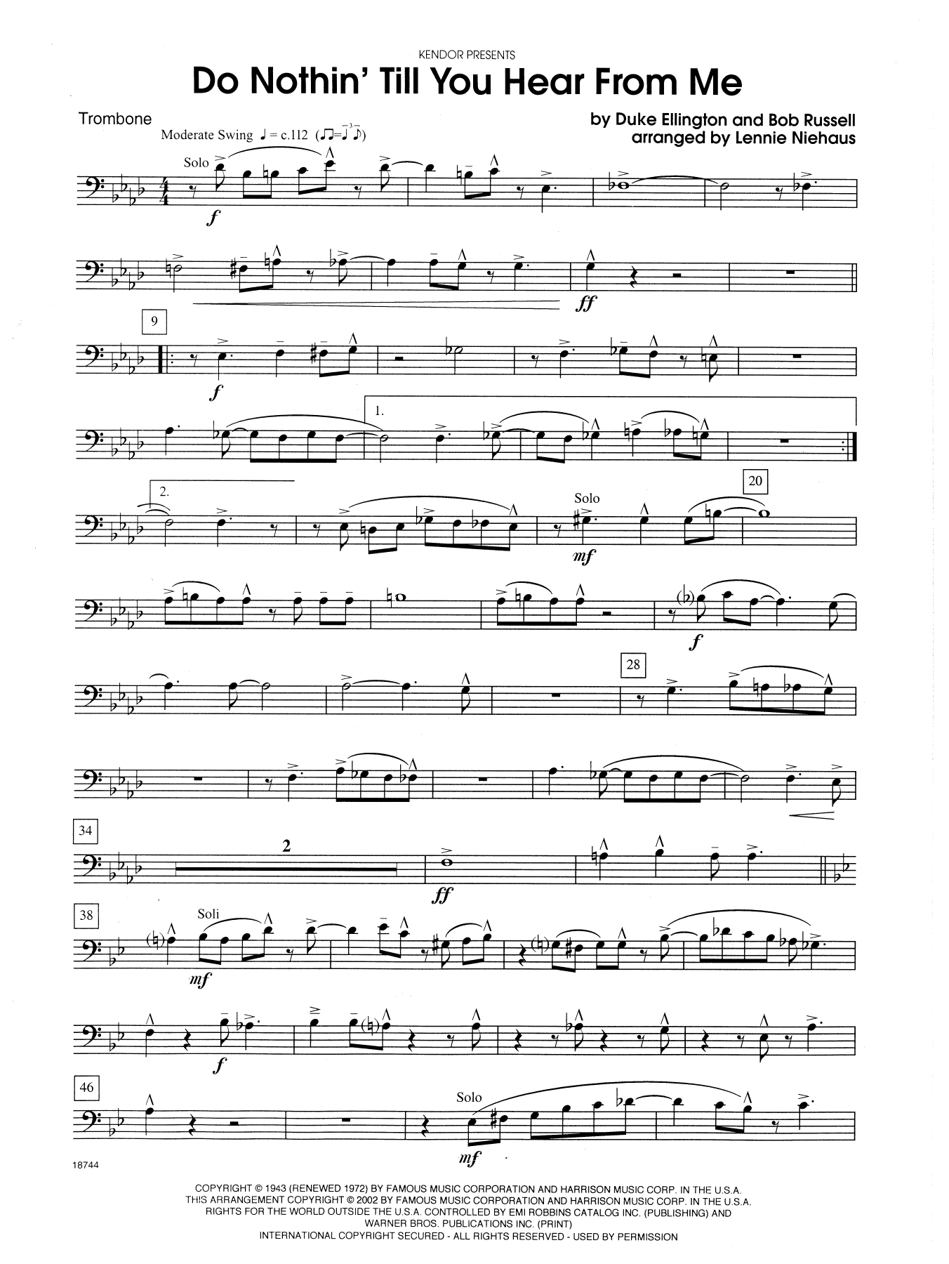 Do Nothin' Till You Hear from Me - Trombone Sheet Music