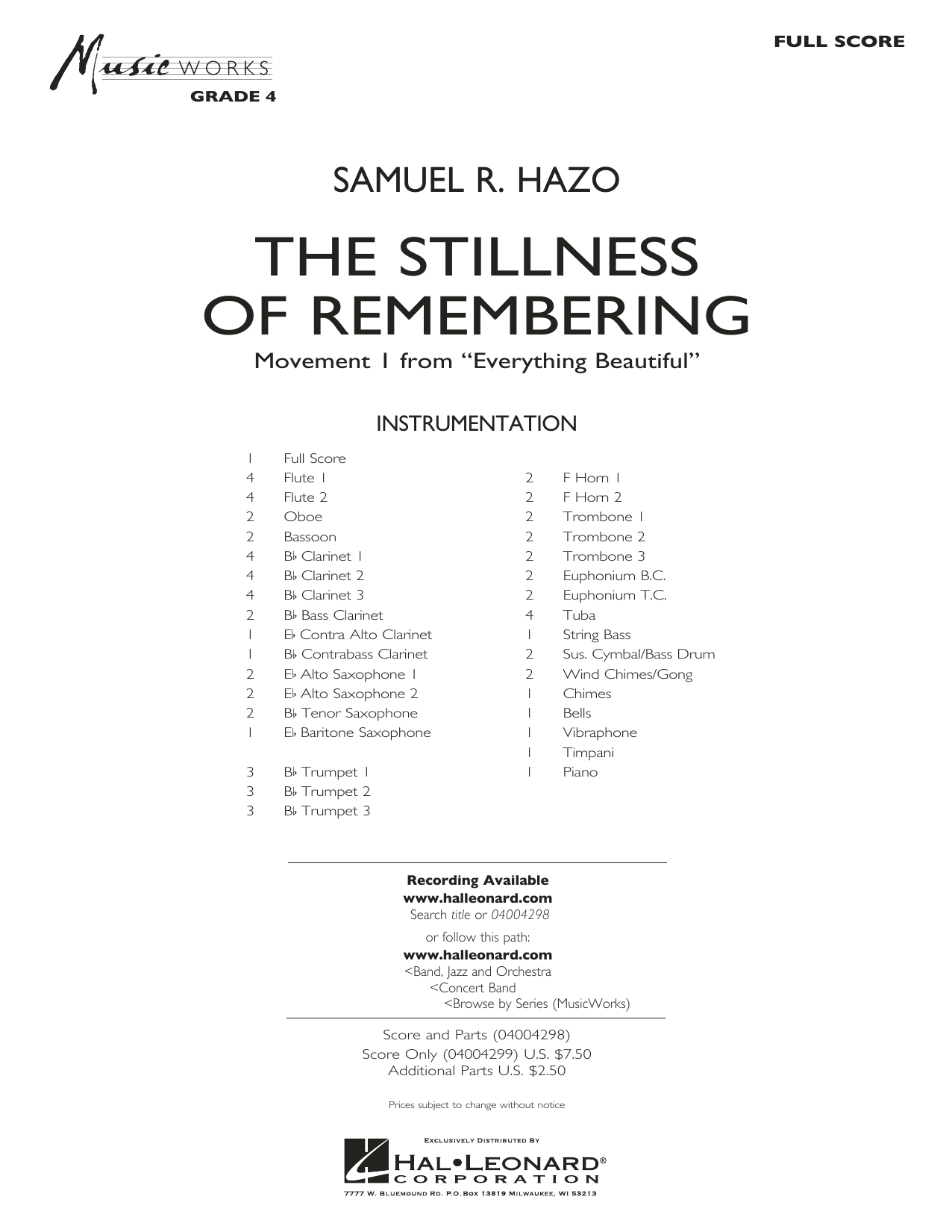 The Stillness of Remembering (COMPLETE) sheet music for concert band by Samuel R. Hazo. Score Image Preview.