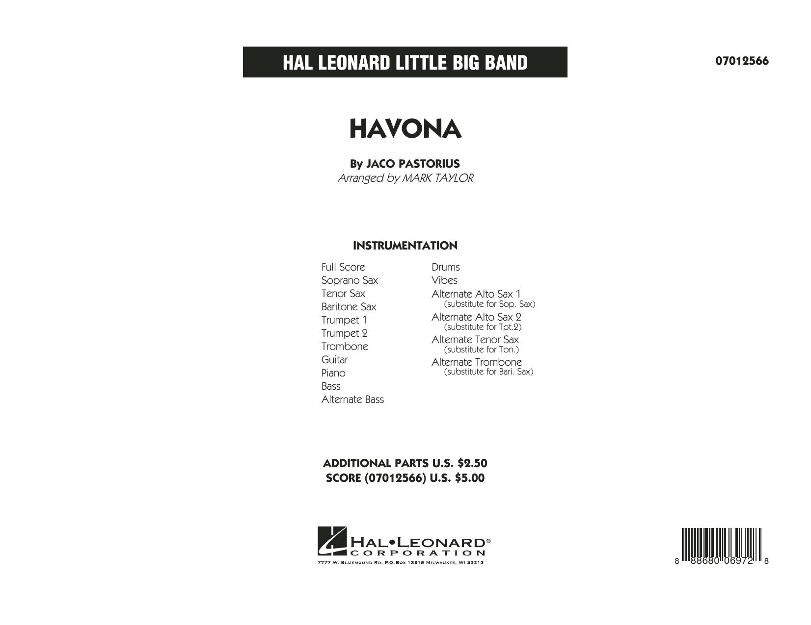 Havona - Full Score (Jazz Ensemble)