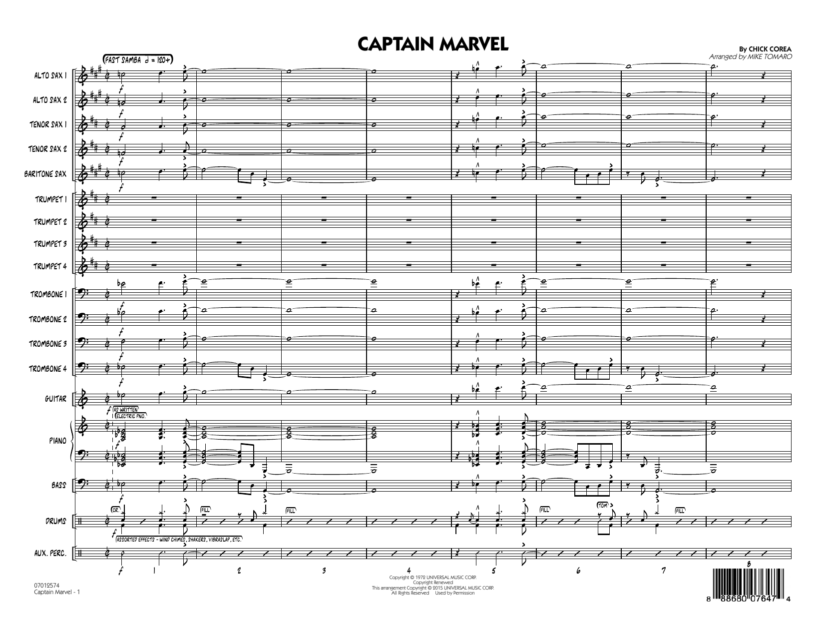 Captain Marvel (COMPLETE) sheet music for jazz band by Mike Tomaro and Chick Corea. Score Image Preview.