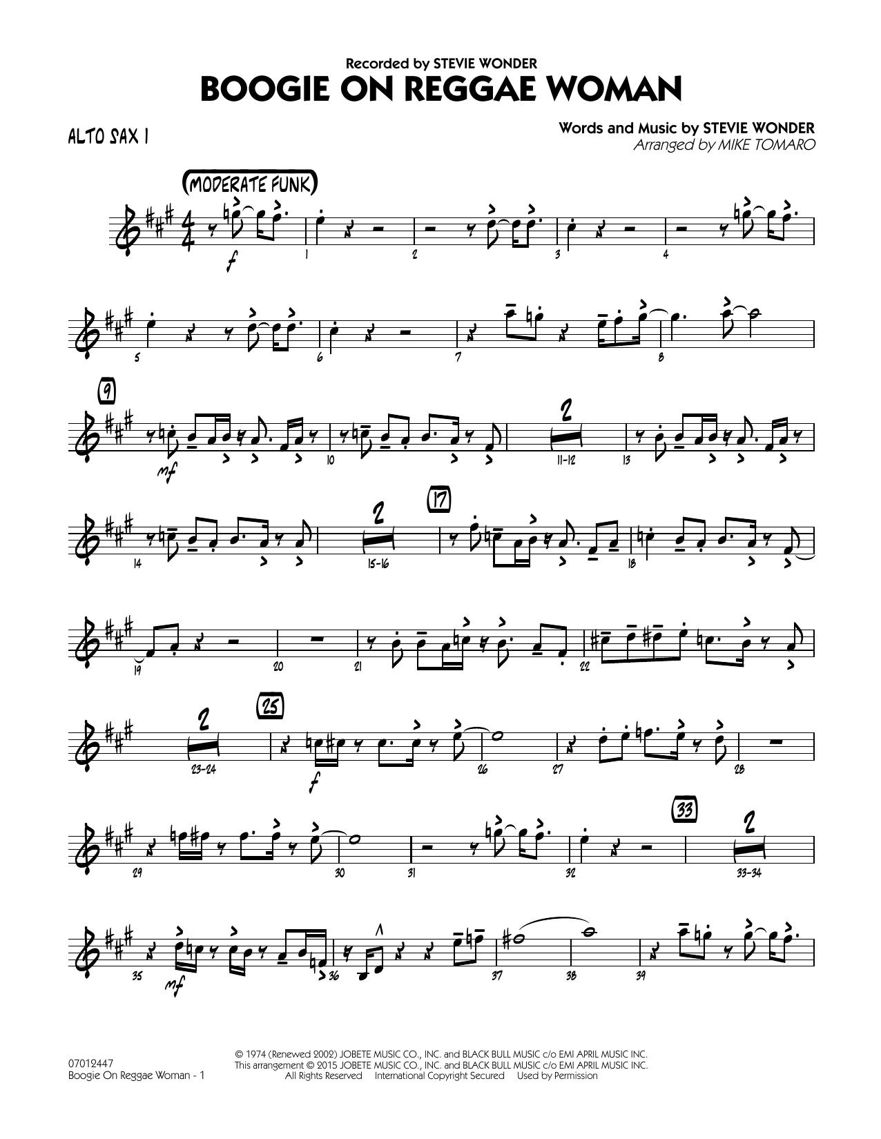 Boogie On Reggae Woman - Alto Sax 1 (Jazz Ensemble)