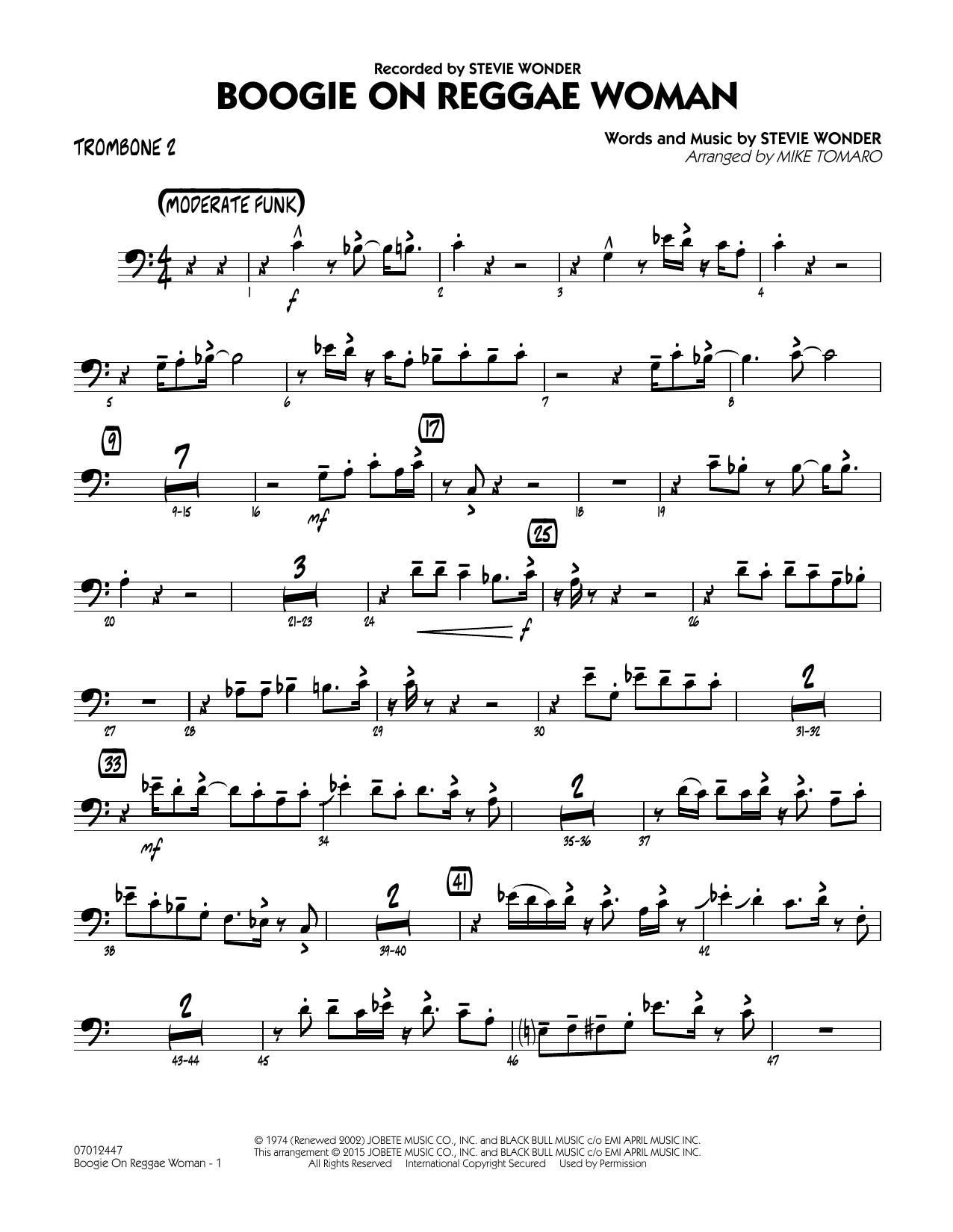 Boogie On Reggae Woman - Trombone 2 (Jazz Ensemble)