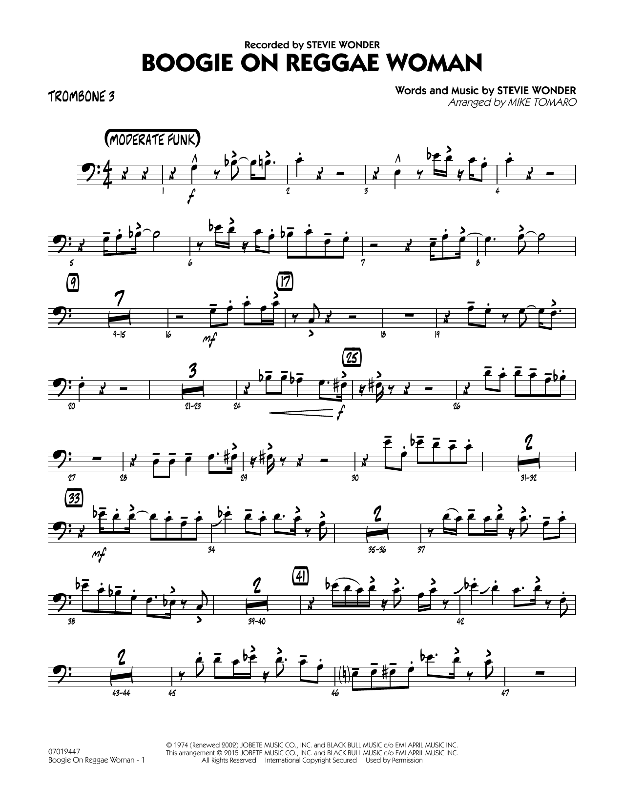 Boogie On Reggae Woman - Trombone 3 (Jazz Ensemble)
