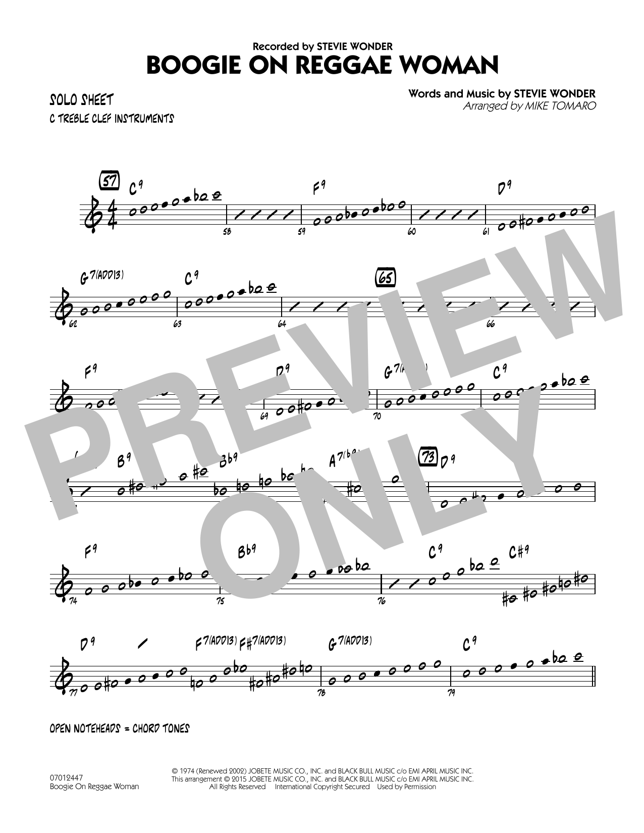 Boogie On Reggae Woman - C Solo Sheet (Jazz Ensemble)