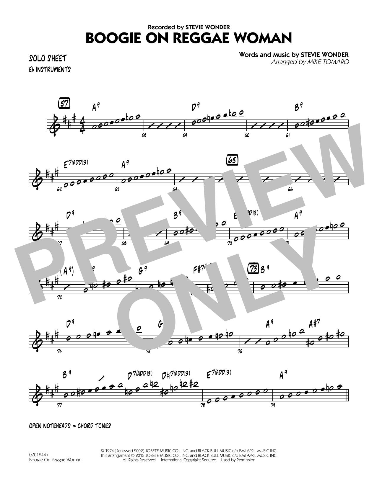 Boogie On Reggae Woman - Eb Solo Sheet (Jazz Ensemble)