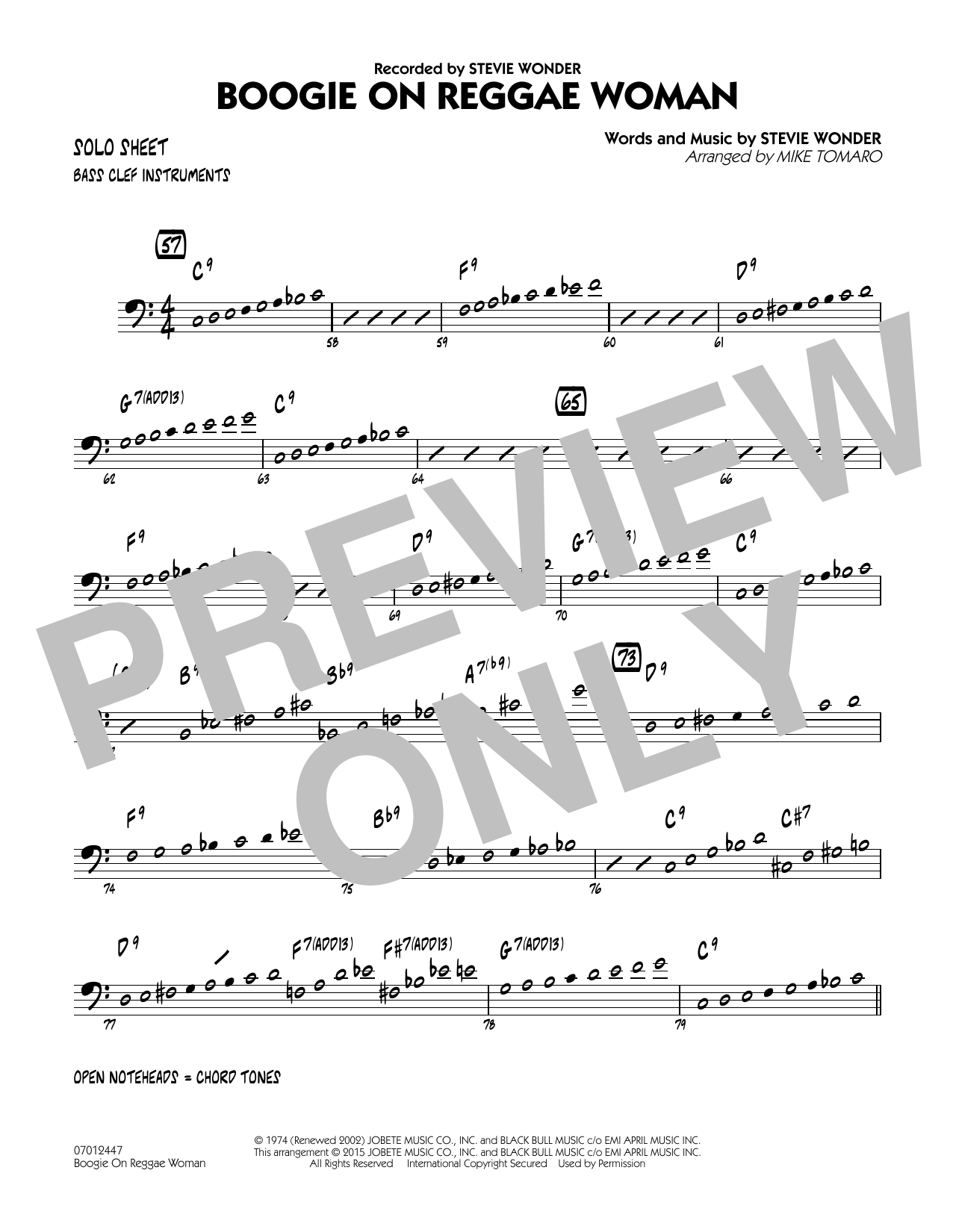 Boogie On Reggae Woman - Bass Clef Solo Sheet (Jazz Ensemble)