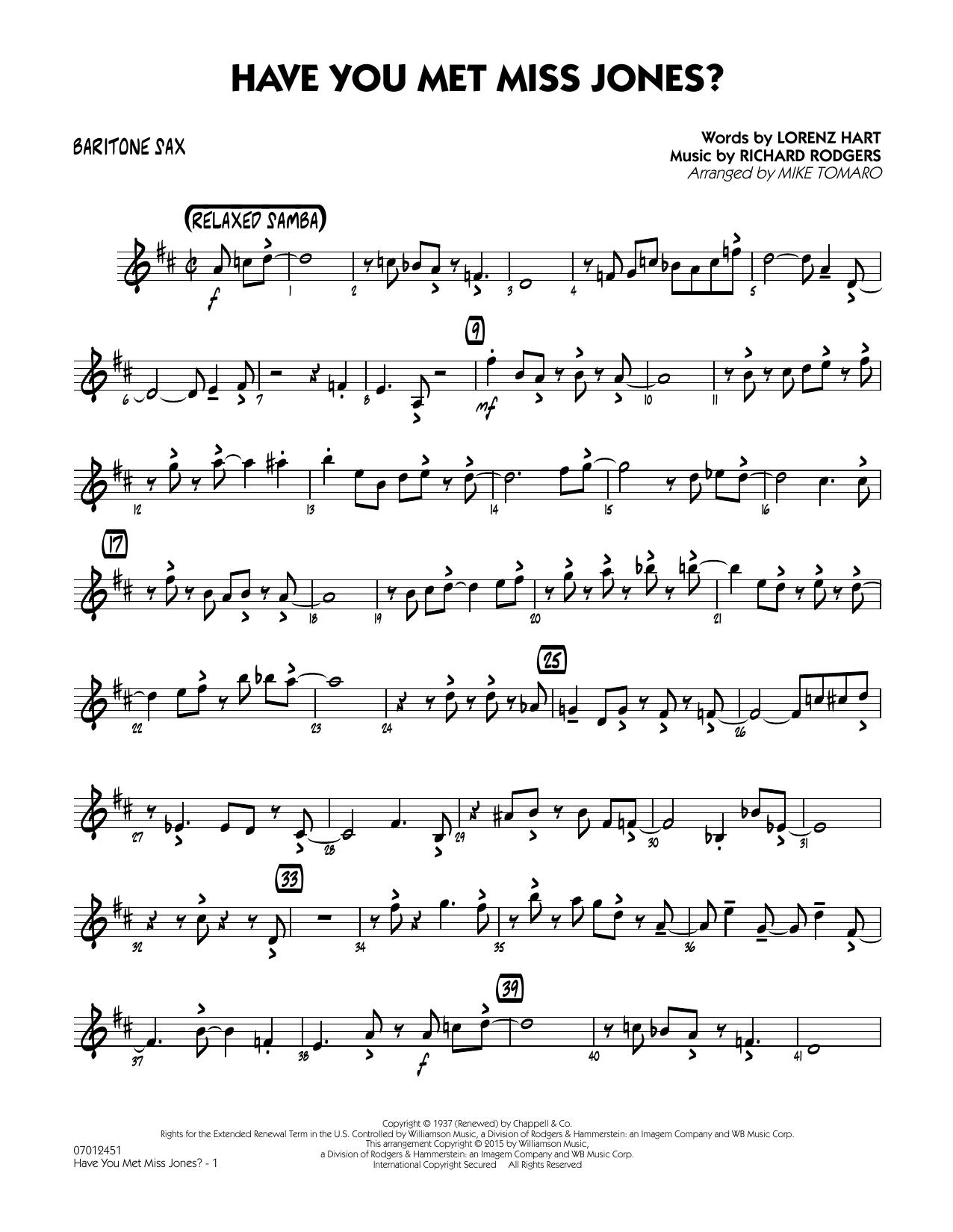 Have You Met Miss Jones? - Baritone Sax (Jazz Ensemble)