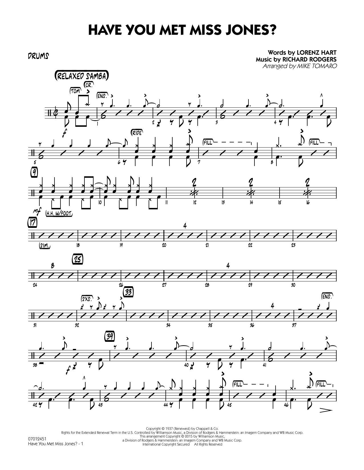 Have You Met Miss Jones? - Drums (Jazz Ensemble)