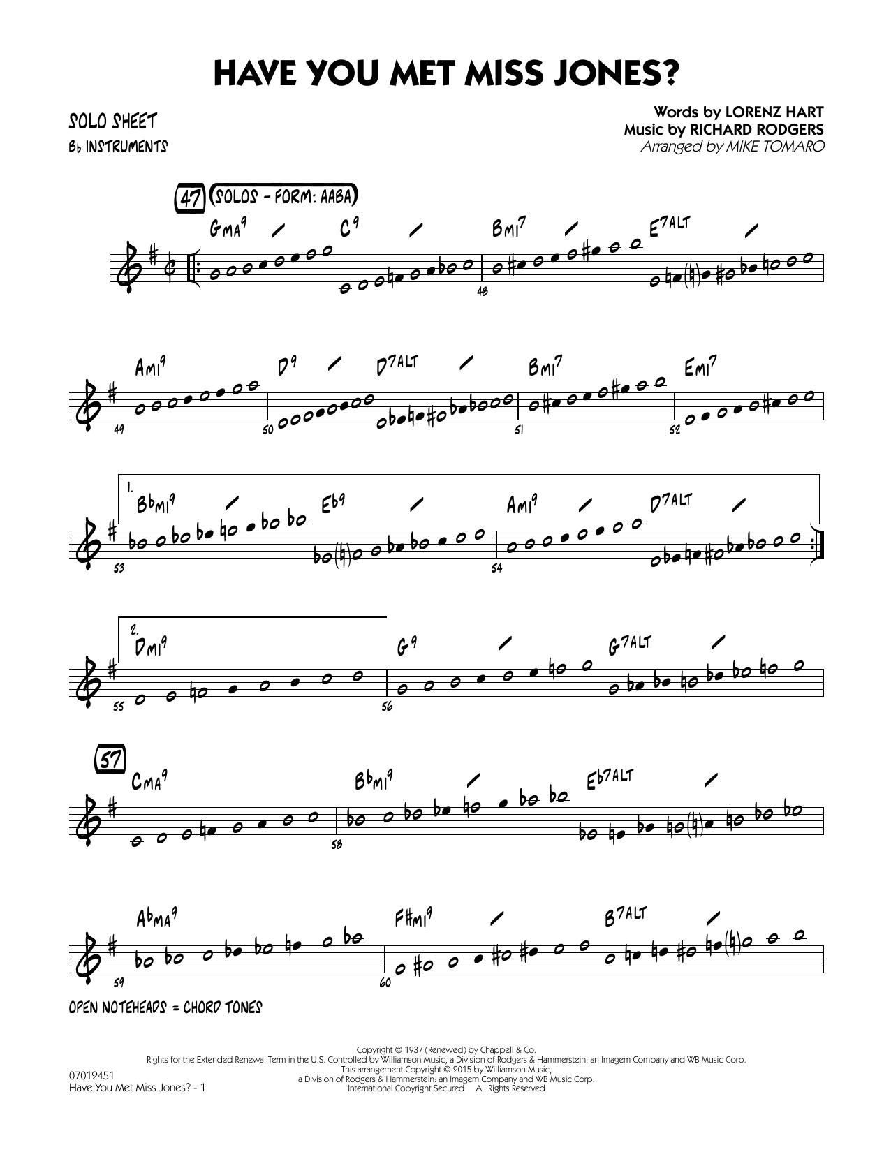 Have You Met Miss Jones? - Bb Solo Sheet (Jazz Ensemble)