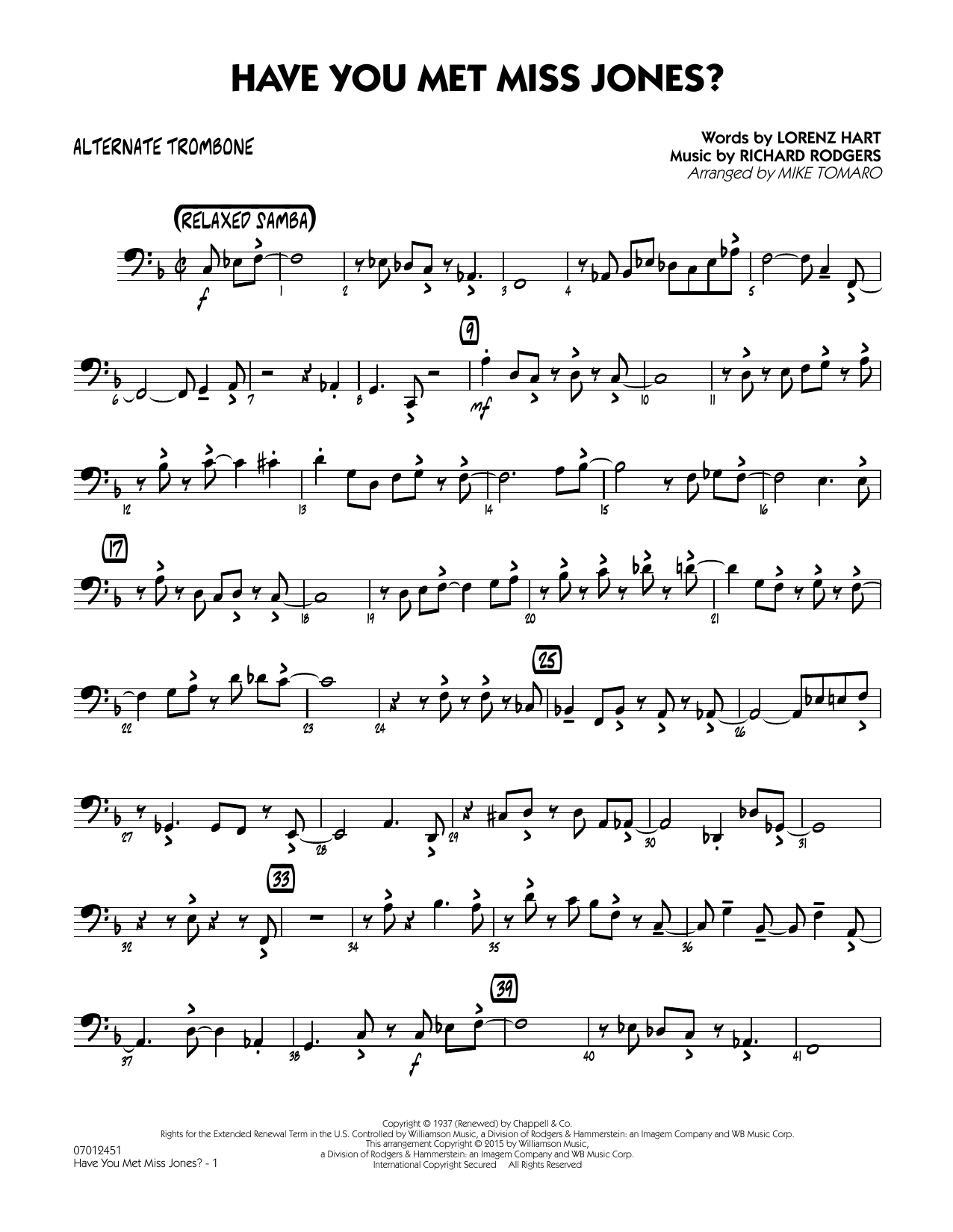 Have You Met Miss Jones? - Alternate Trombone (Jazz Ensemble)