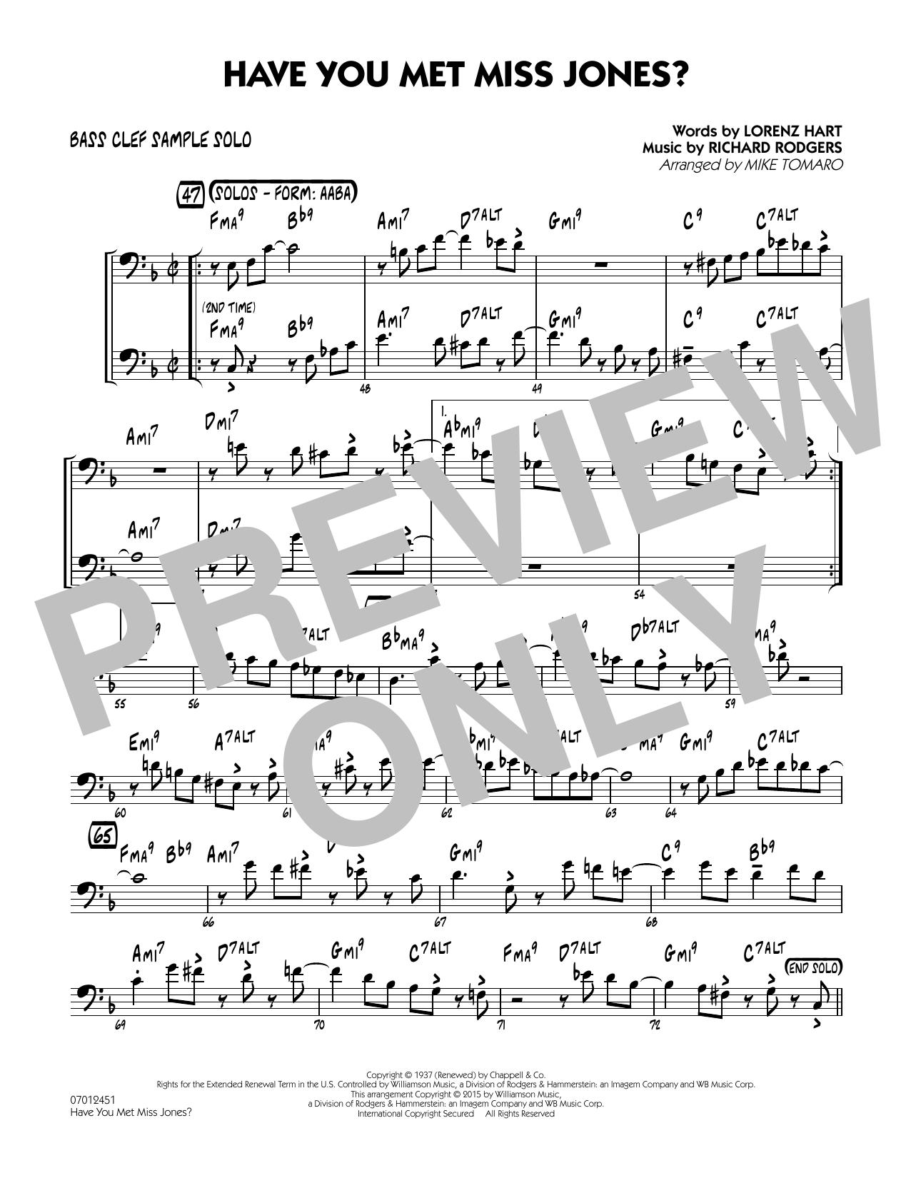 Have You Met Miss Jones? - Bass Clef Sample Solo (Jazz Ensemble)