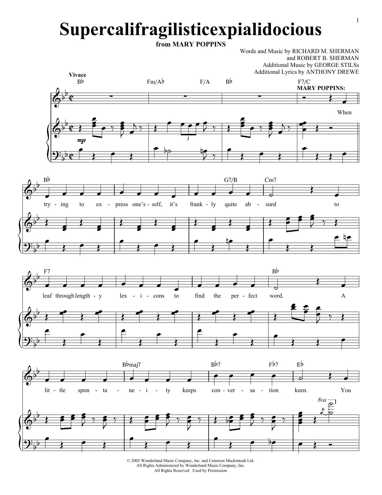 Supercalifragilisticexpialidocious (Piano & Vocal)