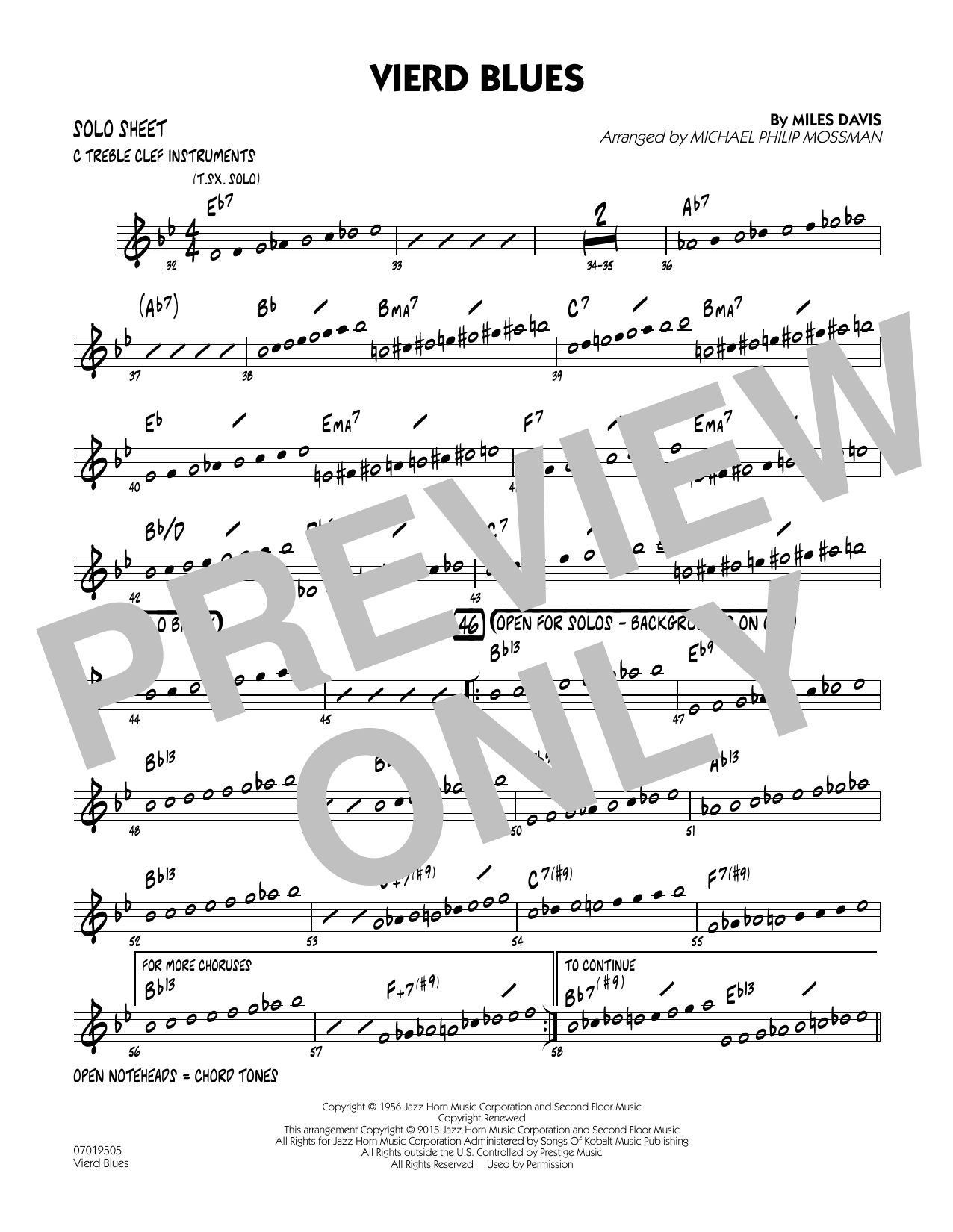 Vierd Blues - C Solo Sheet (Jazz Ensemble)