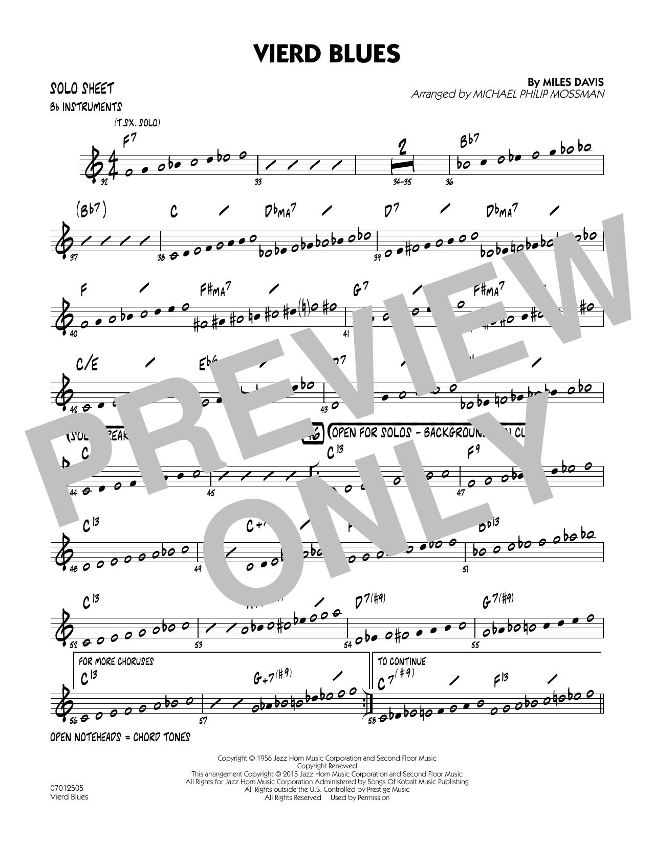 Vierd Blues - Bb Solo Sheet (Jazz Ensemble)