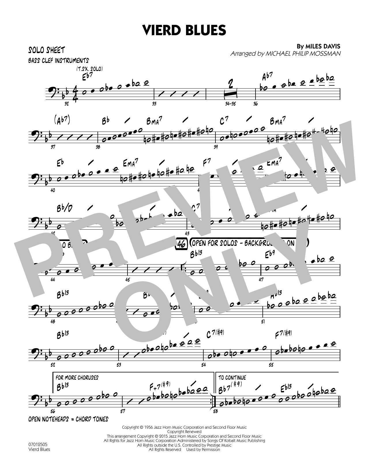 Vierd Blues - Bass Clef Solo Sheet (Jazz Ensemble)