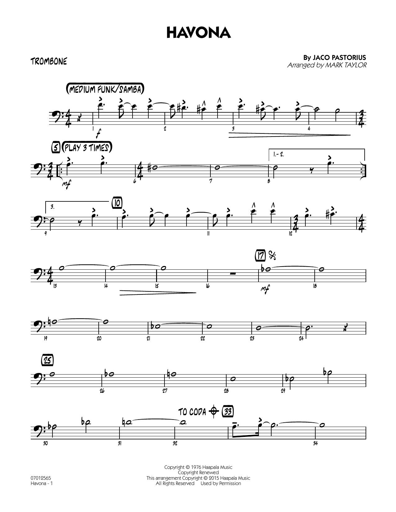 Havona - Trombone (Jazz Ensemble)