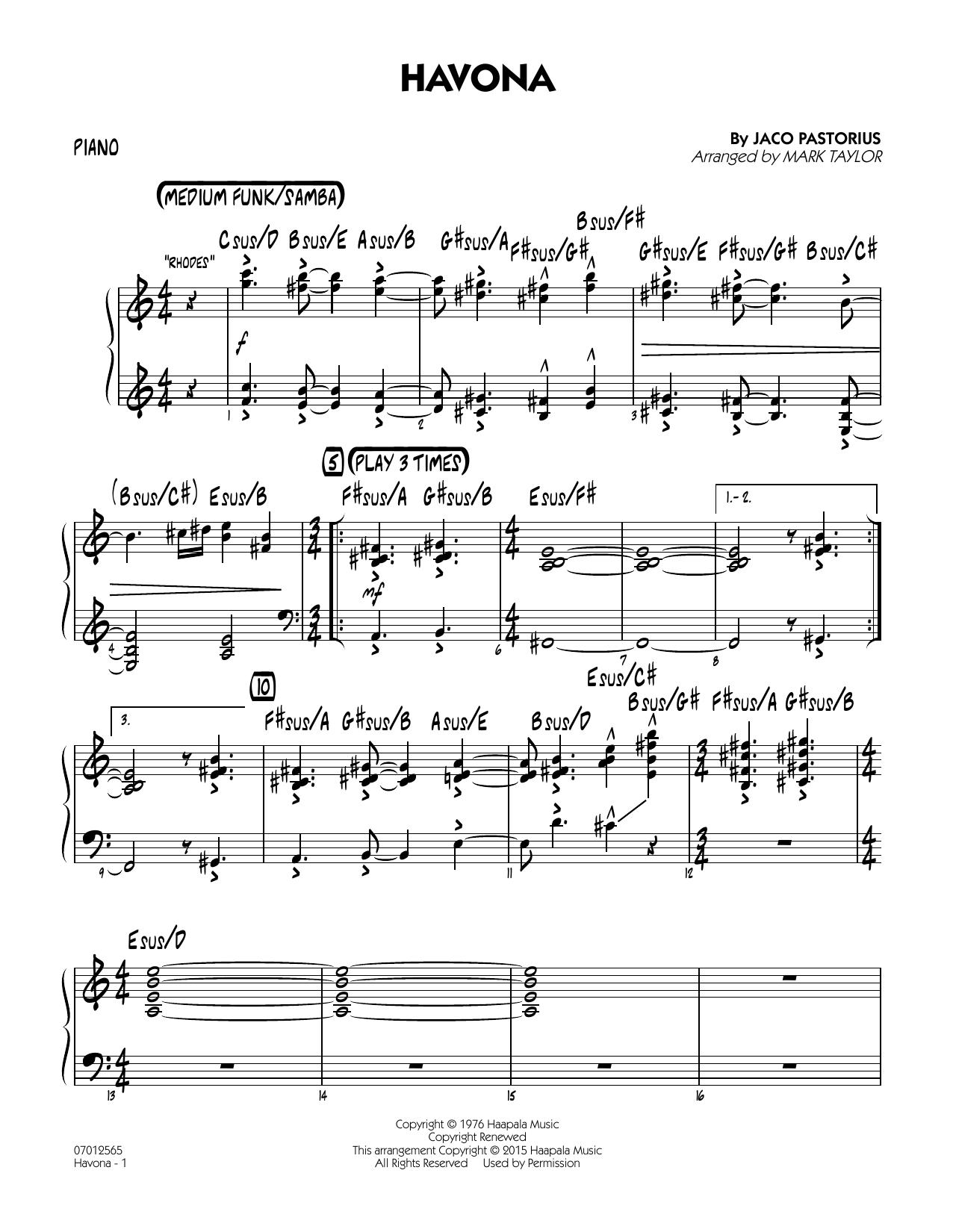 Havona - Piano (Jazz Ensemble)