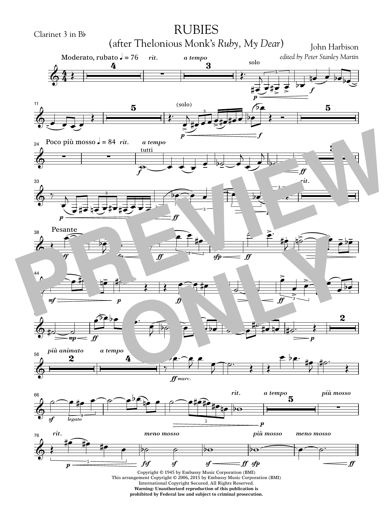 """Rubies (After Thelonious Monk's """"Ruby, My Dear"""") - Bb Clarinet 3 (Concert Band)"""