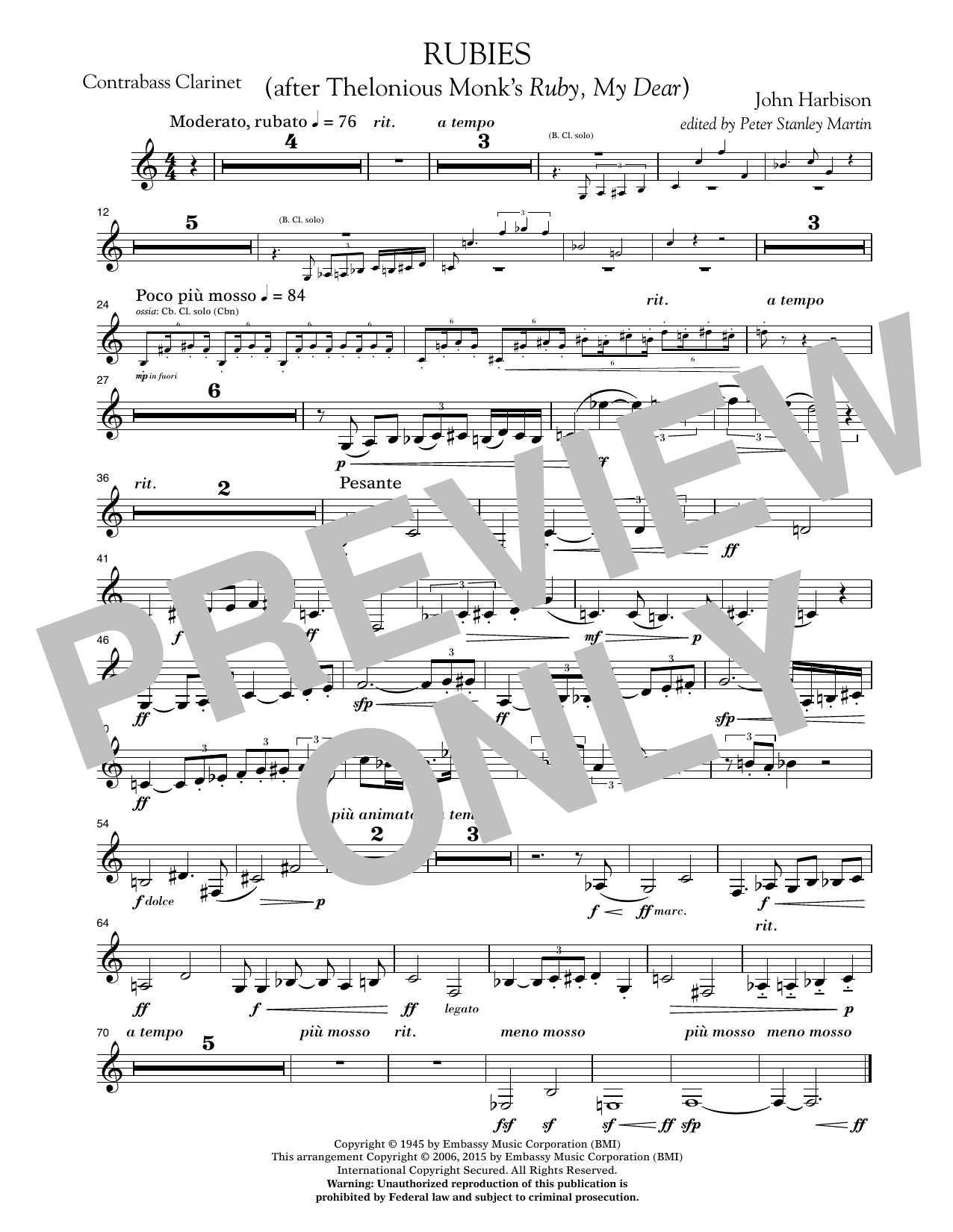 """Rubies (After Thelonious Monk's """"Ruby, My Dear"""") - Bb Contra Bass Clarinet (Concert Band)"""