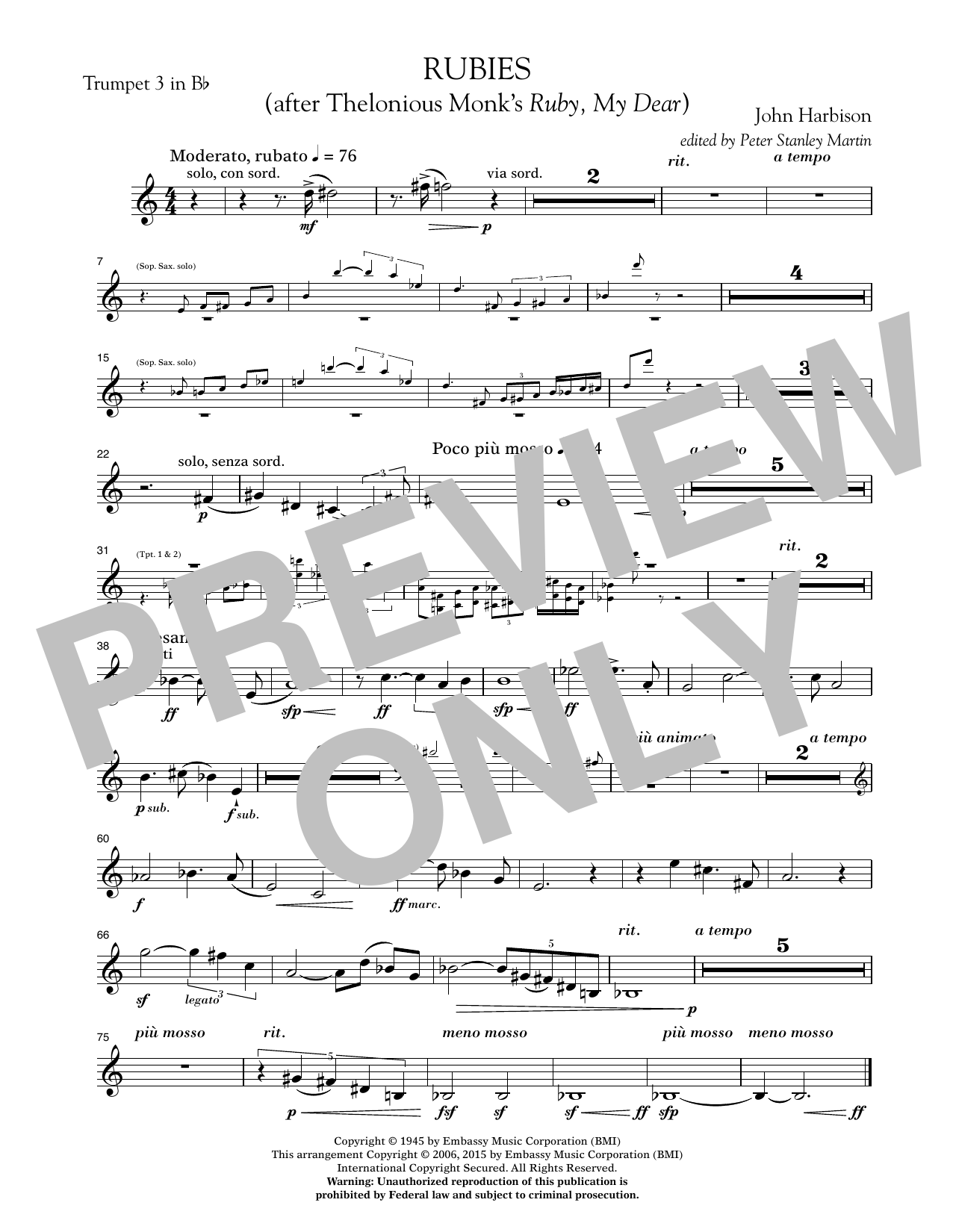 """Rubies (After Thelonious Monk's """"Ruby, My Dear"""") - Bb Trumpet 3 (Concert Band)"""