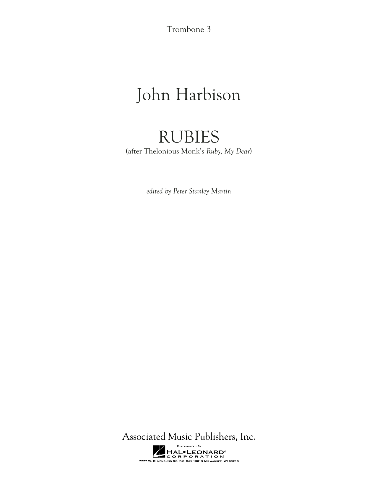 """Rubies (After Thelonious Monk's """"Ruby, My Dear"""") - Trombone 3 (Concert Band)"""