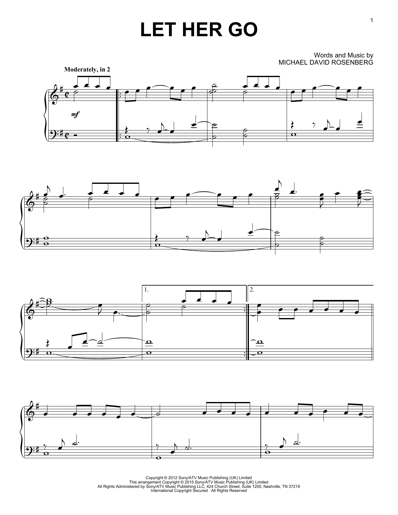 Let Her Go piano sheet music by Passenger - Solo piano