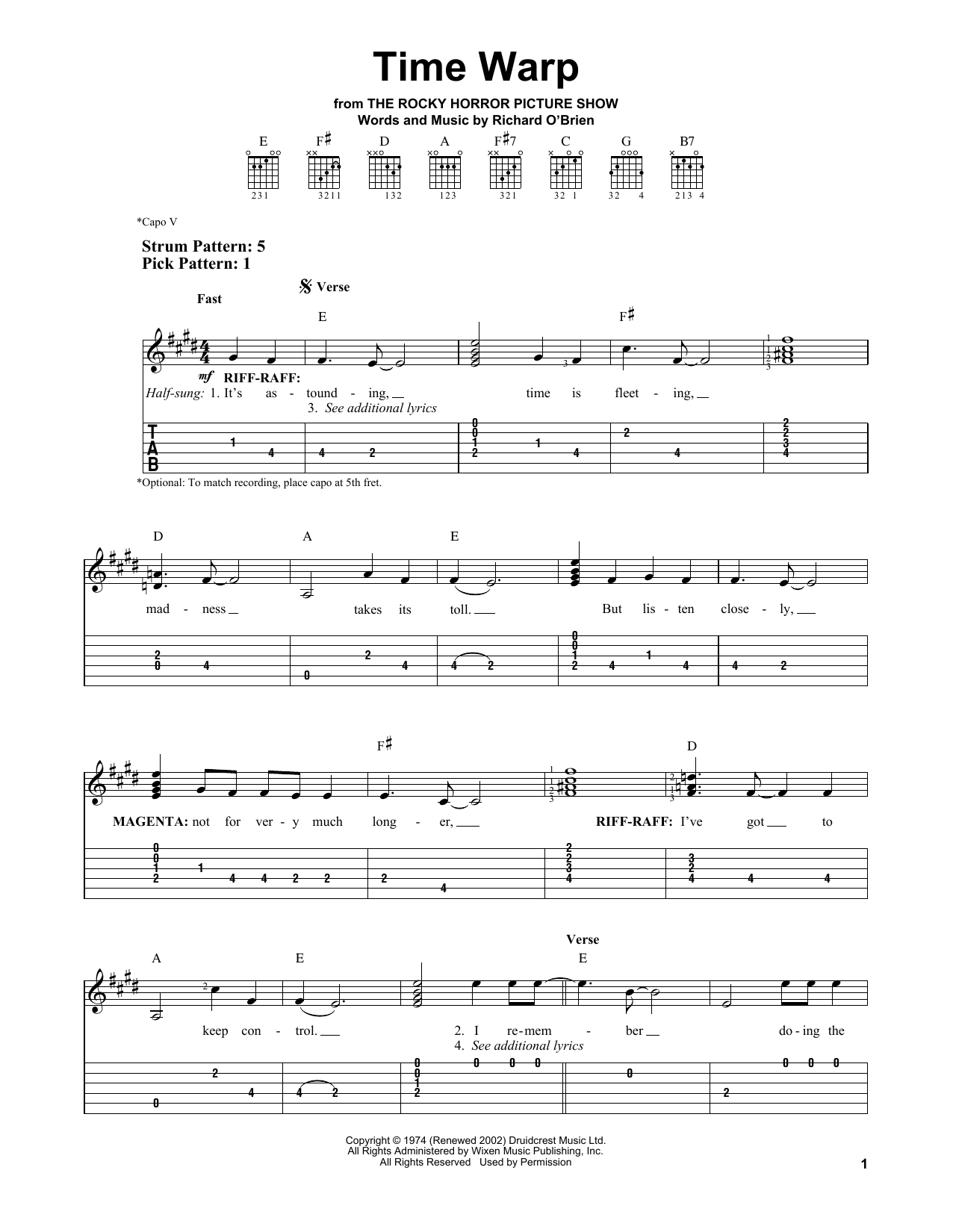 Partition piano Time Warp de Richard O'Brien - Tablature guitare facile