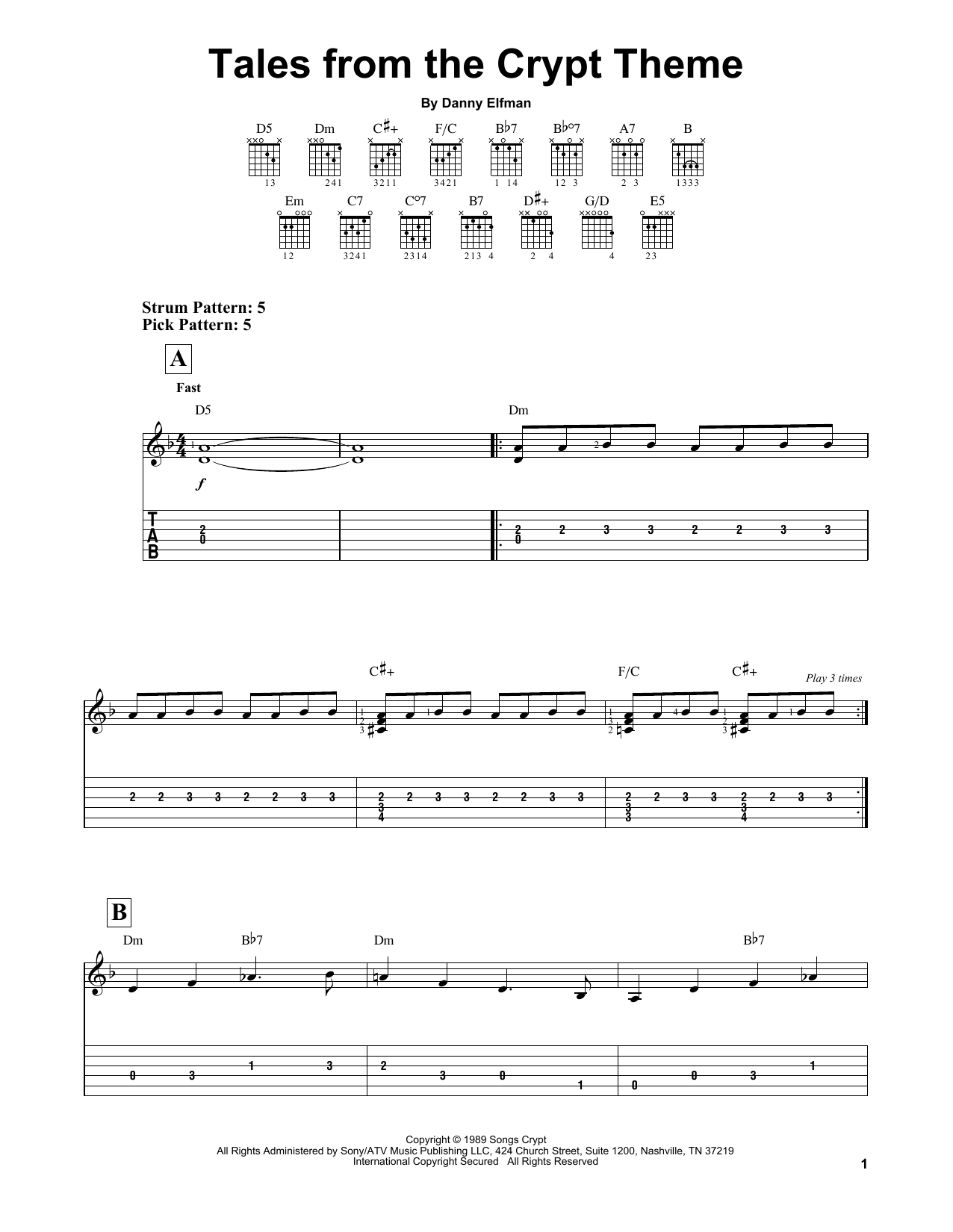 Partition piano Tales From The Crypt Theme de Danny Elfman - Tablature guitare facile