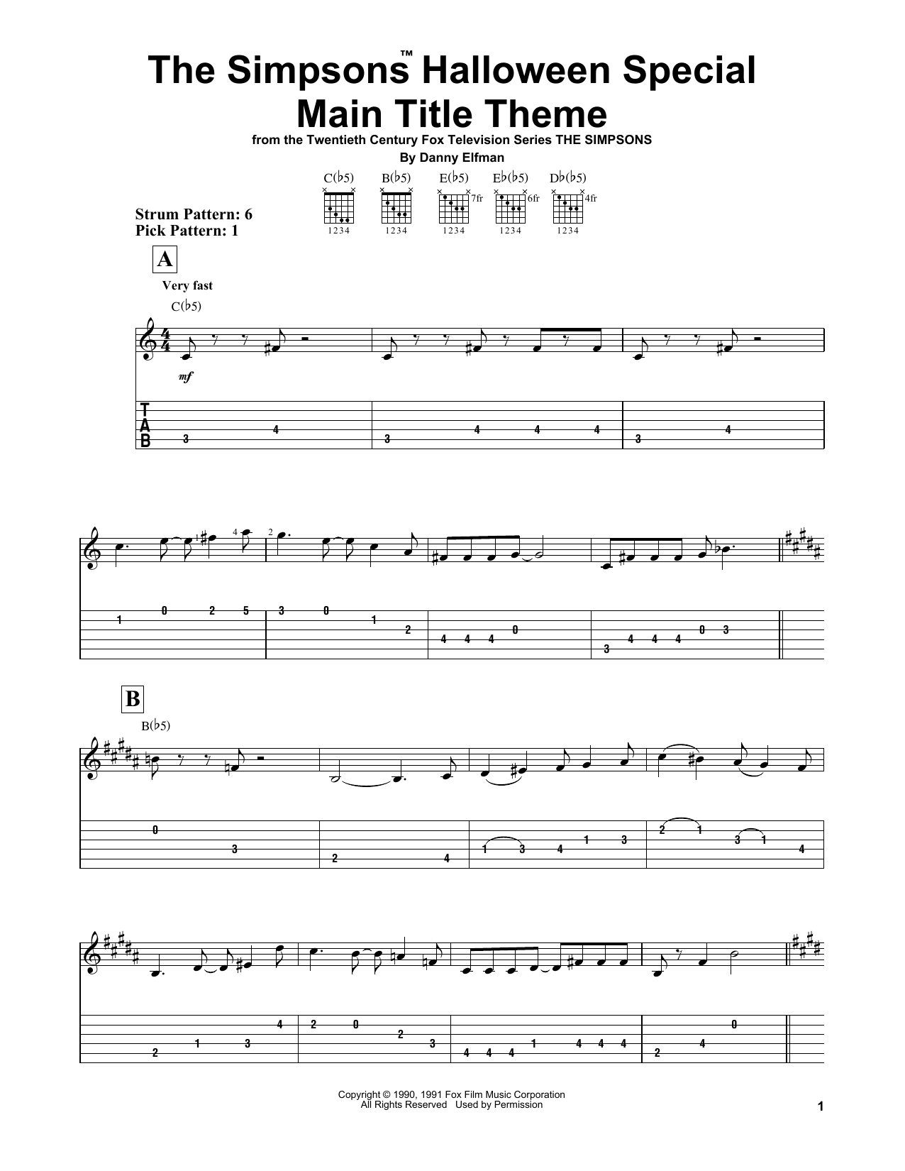 The Simpsons Halloween Special Main Title Theme (Easy Guitar Tab)