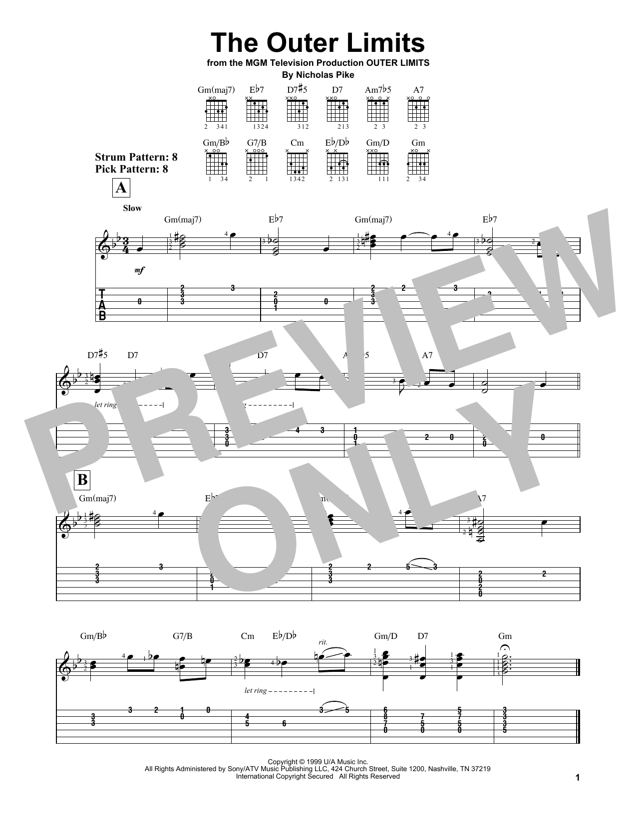 Outer Limits (Easy Guitar Tab)