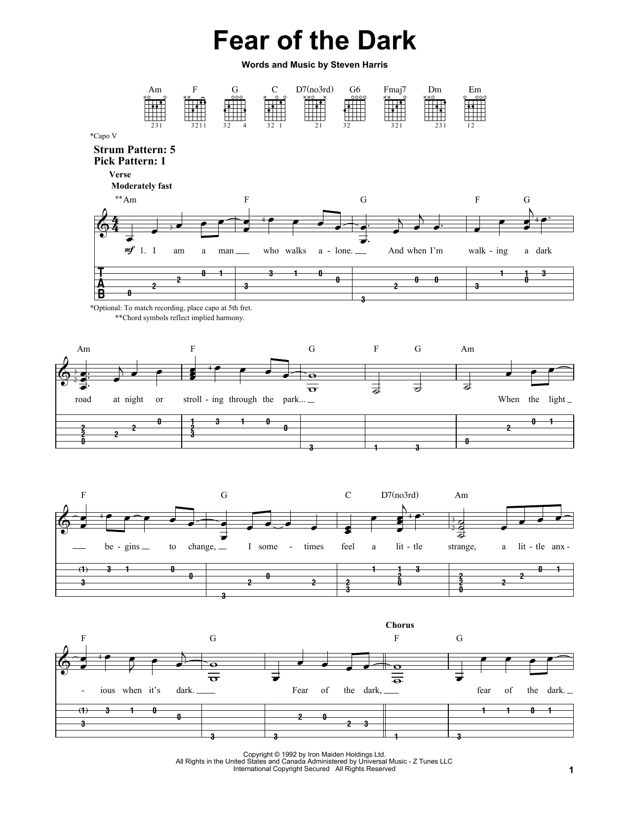 Partition piano Fear Of The Dark de Iron Maiden - Tablature guitare facile