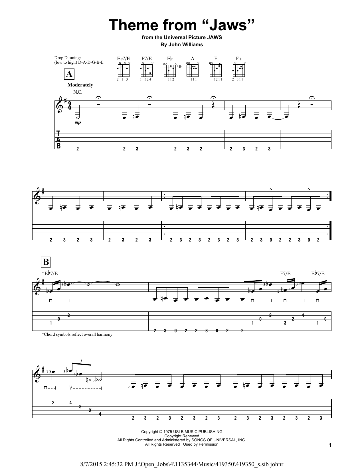 "Partition piano Theme From ""Jaws"" de John Williams - Tablature guitare facile"