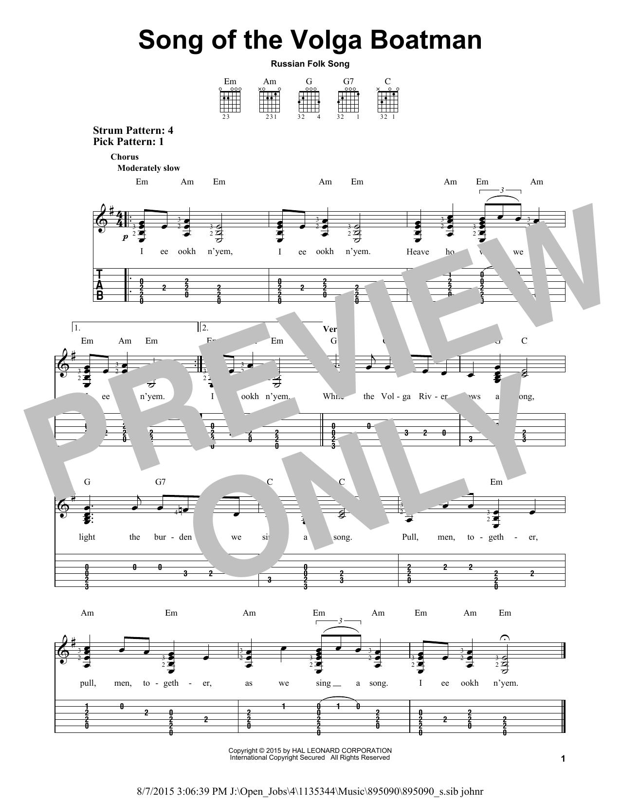 Song Of The Volga Boatman (Easy Guitar Tab)